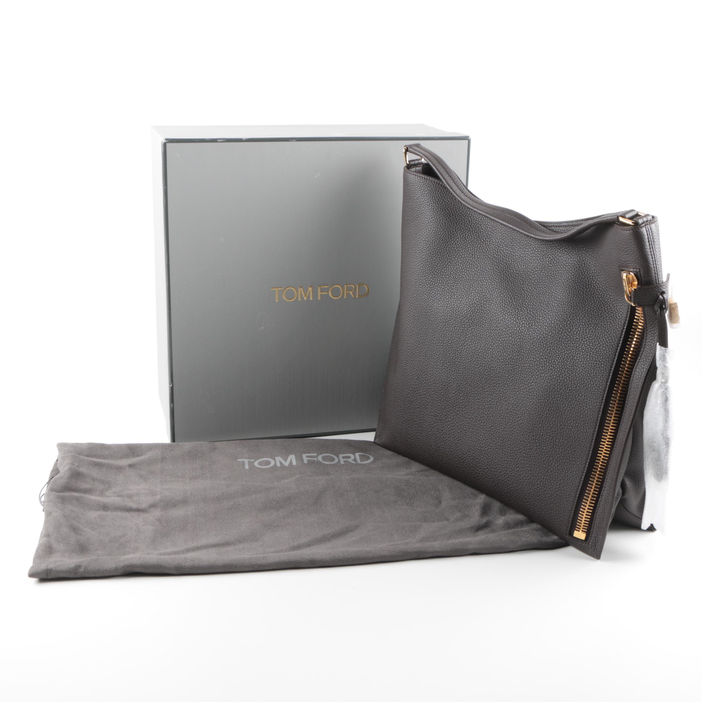 Tom Ford Brown Pebbled Leather Handbag