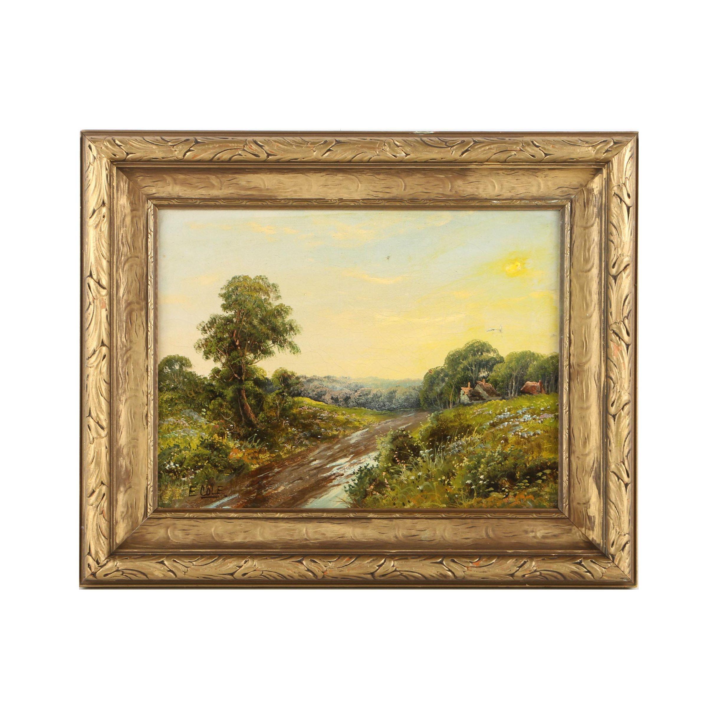 Edwin Cole Oil Painting on Canvas of Pastoral Landscape