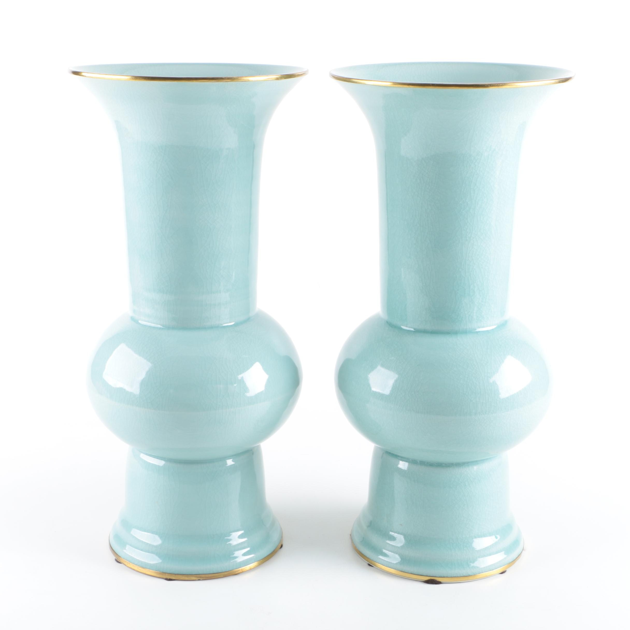 Pair of Hand-Made Maitland-Smith Ceramic Vases