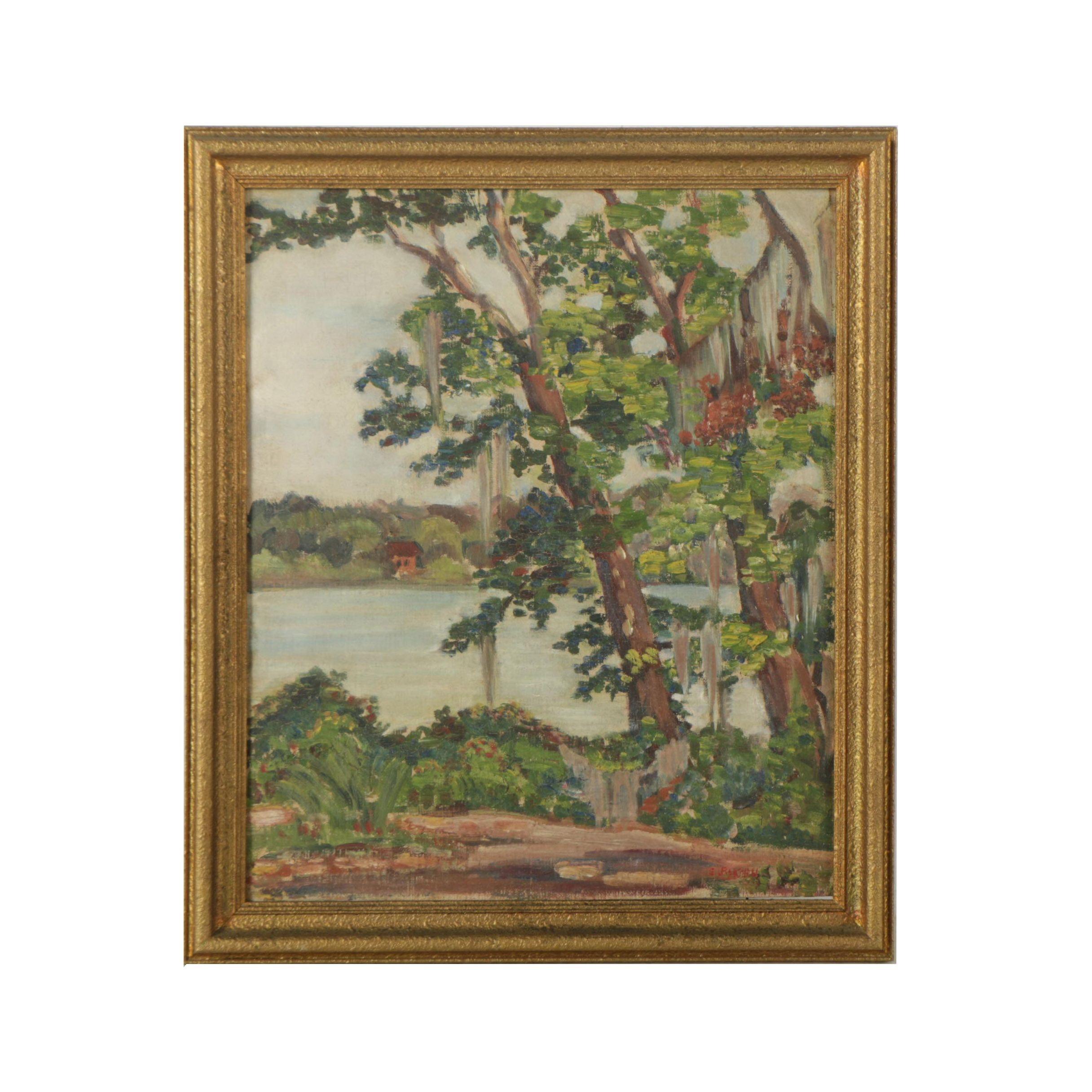 Elizabeth P. Korn Oil Painting on Canvas Board of Lake Scene