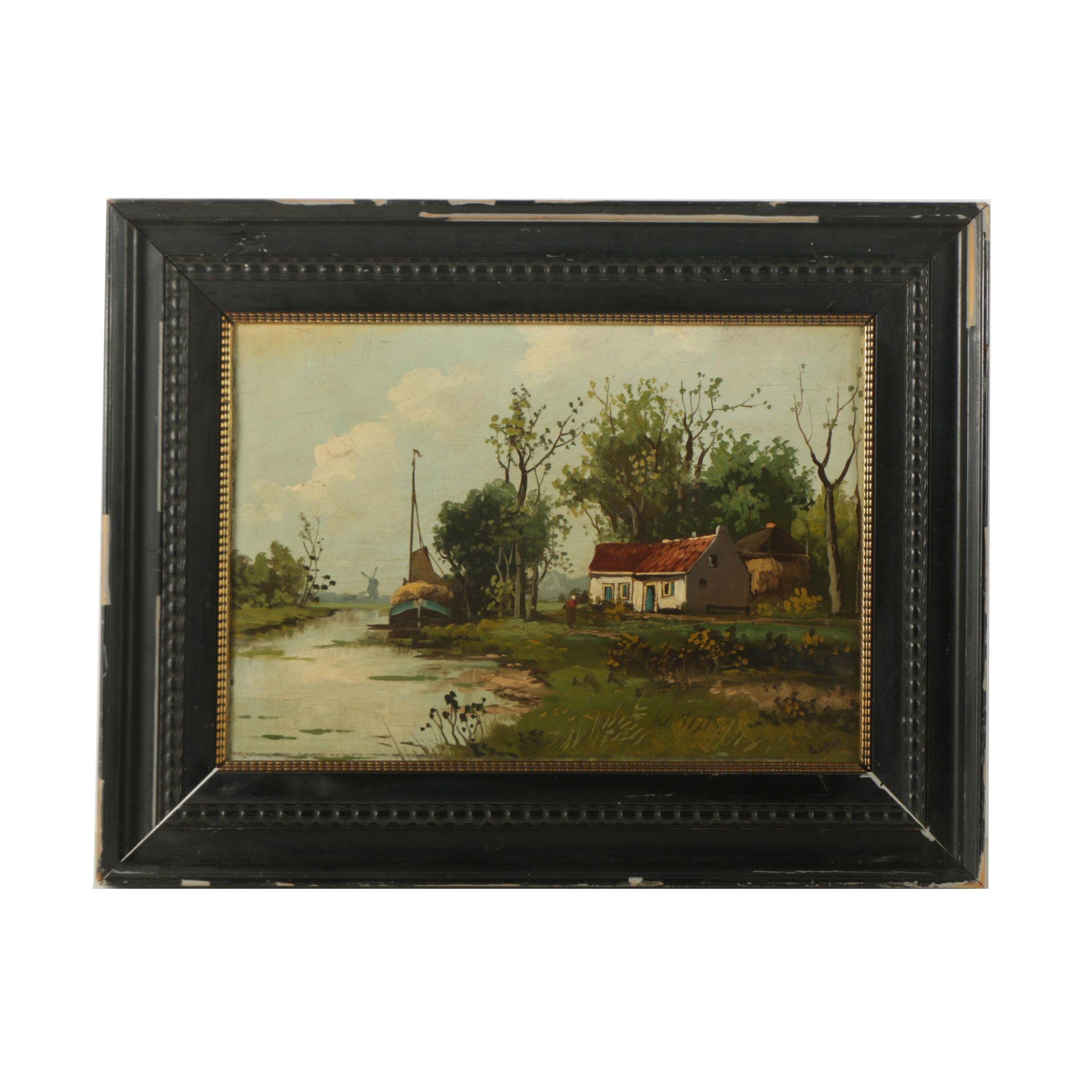 Original Oil Painting on Panel Dutch Landscape