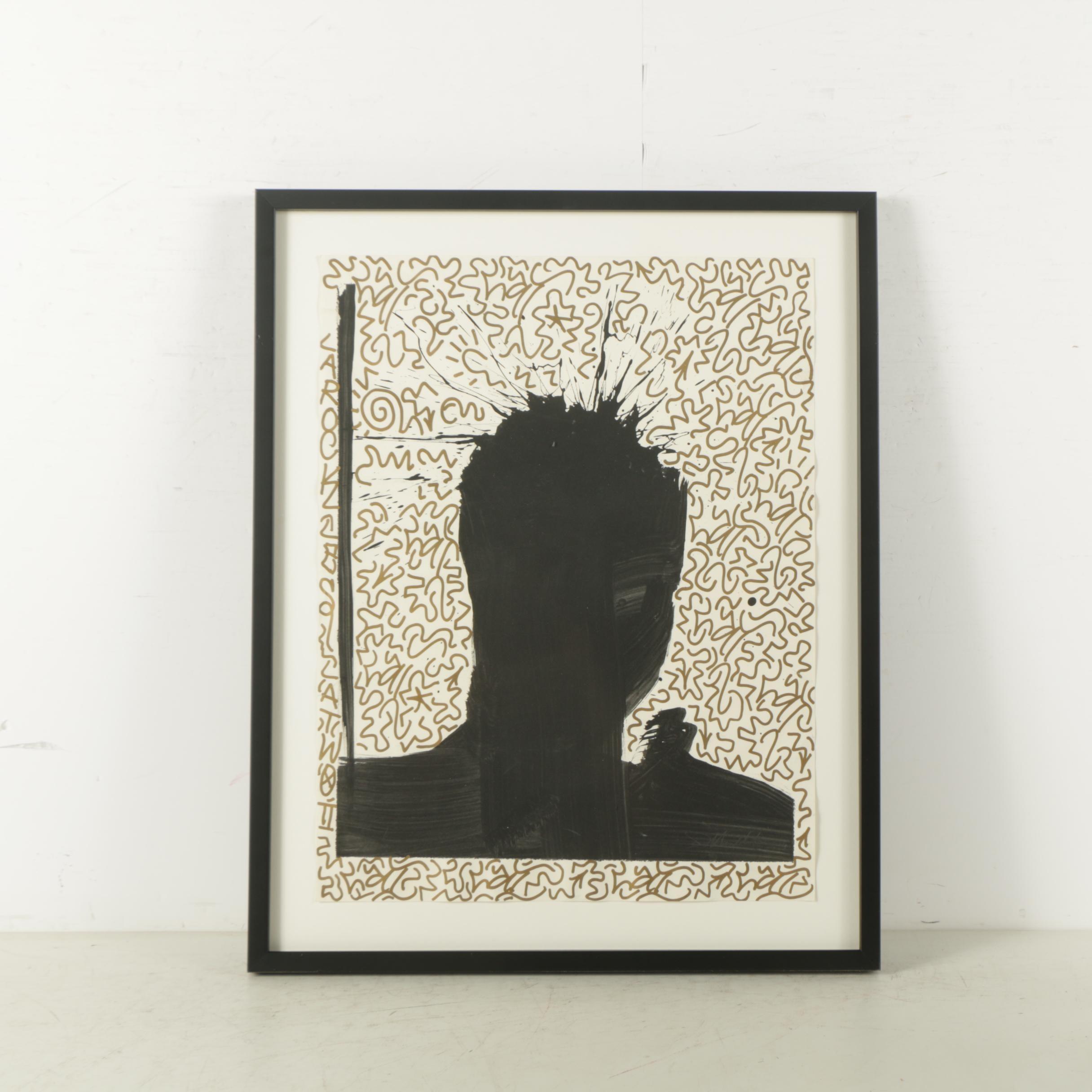 "LA II (Angel Ortiz) and Richard Hambleton Ink on Paper ""Untitled (Shadow Head)"""