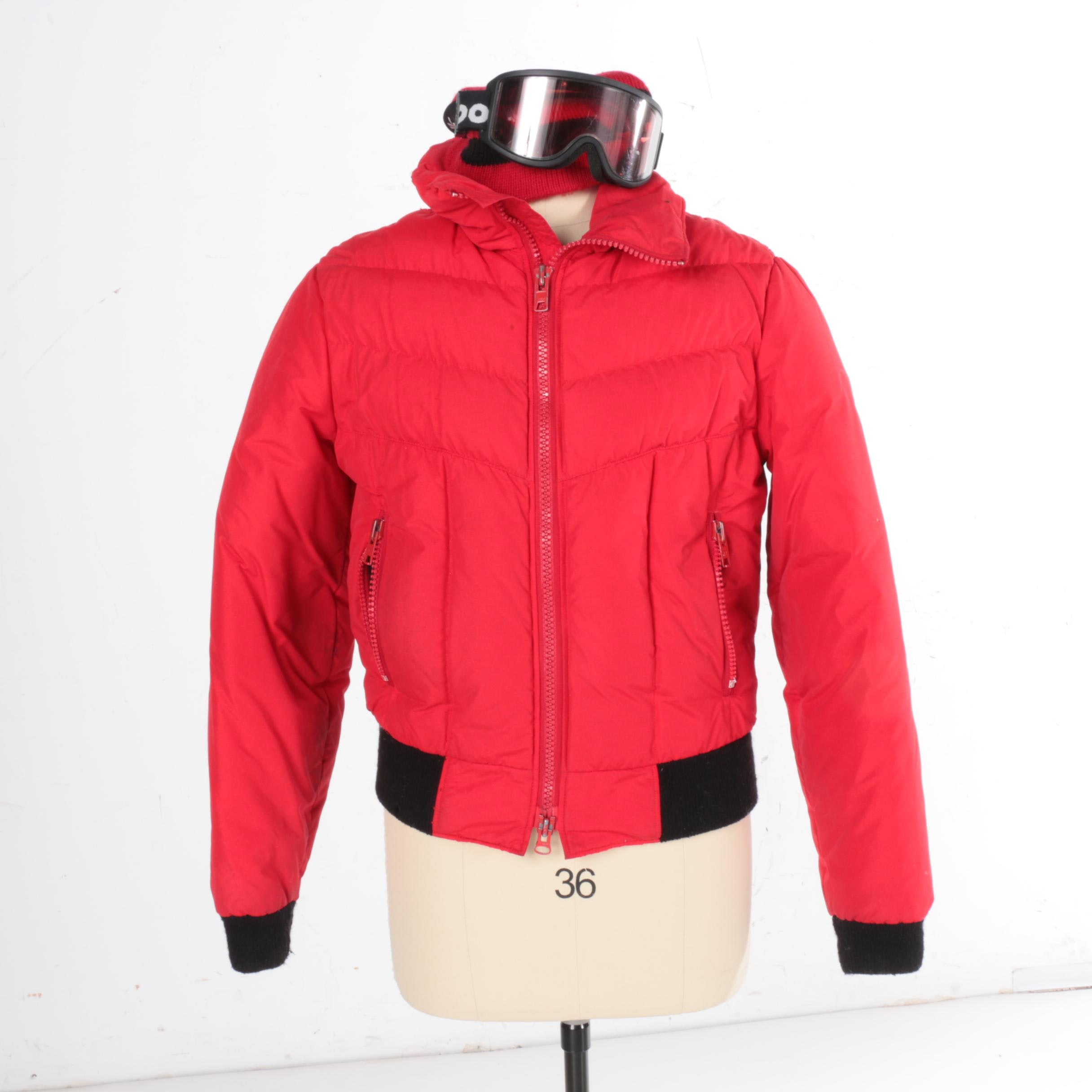 CB Sports Red Ski Jacket with Hat and Bollé Goggles
