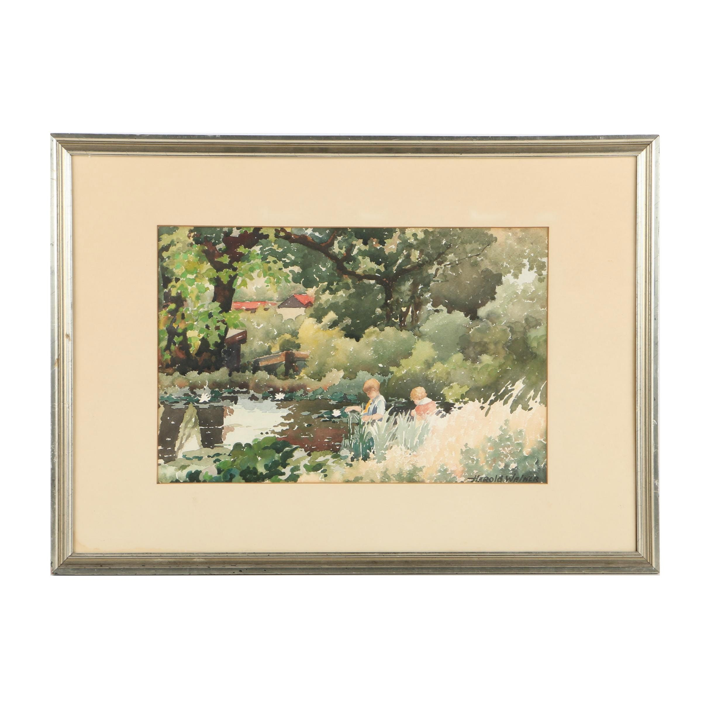 Harold Walker Watercolor Painting on Paper of Children Playing