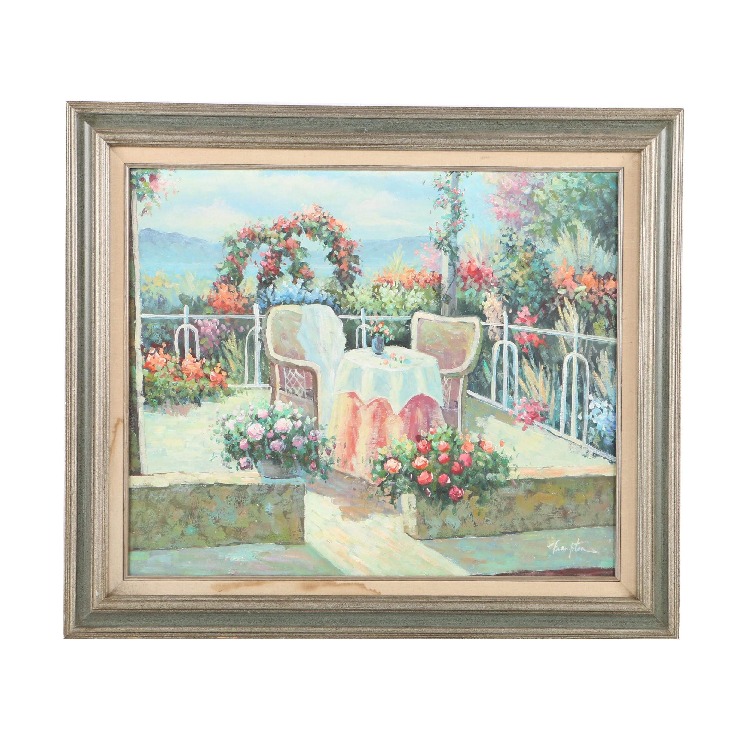Frampton Oil Painting on Canvas Terrace Lined with Flowers