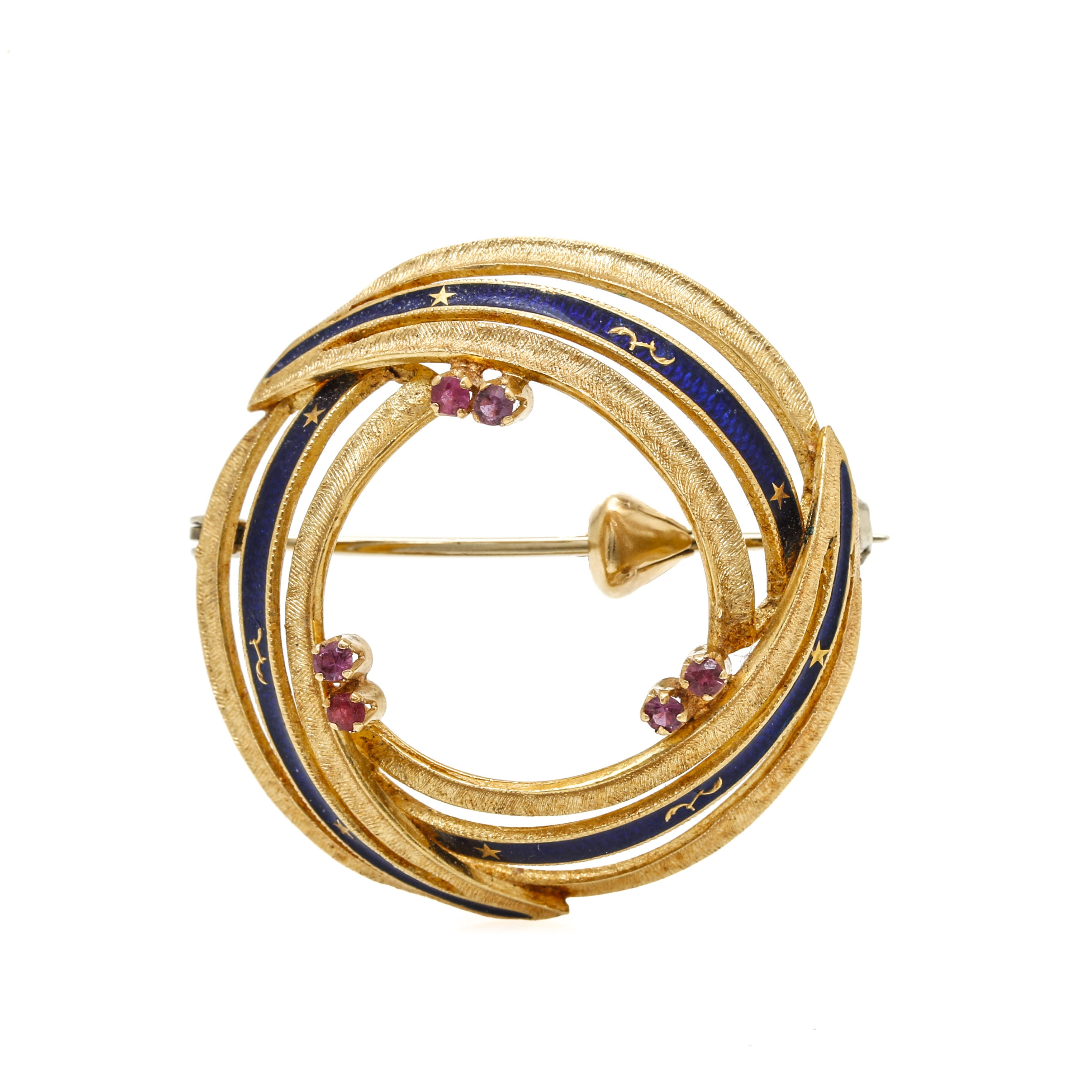Vintage 14K Yellow Gold Ruby and Enamel Brooch
