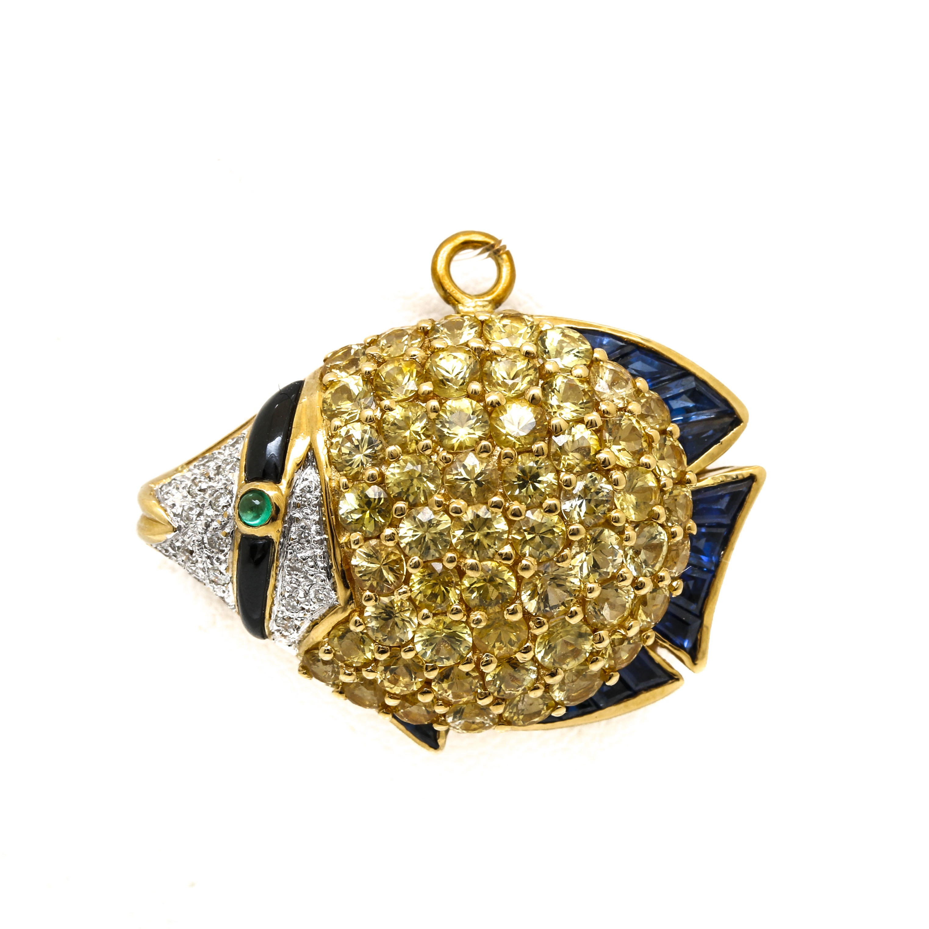 Le Vian 18K Yellow Gold Diamond and Gemstone Fish Pendant Brooch