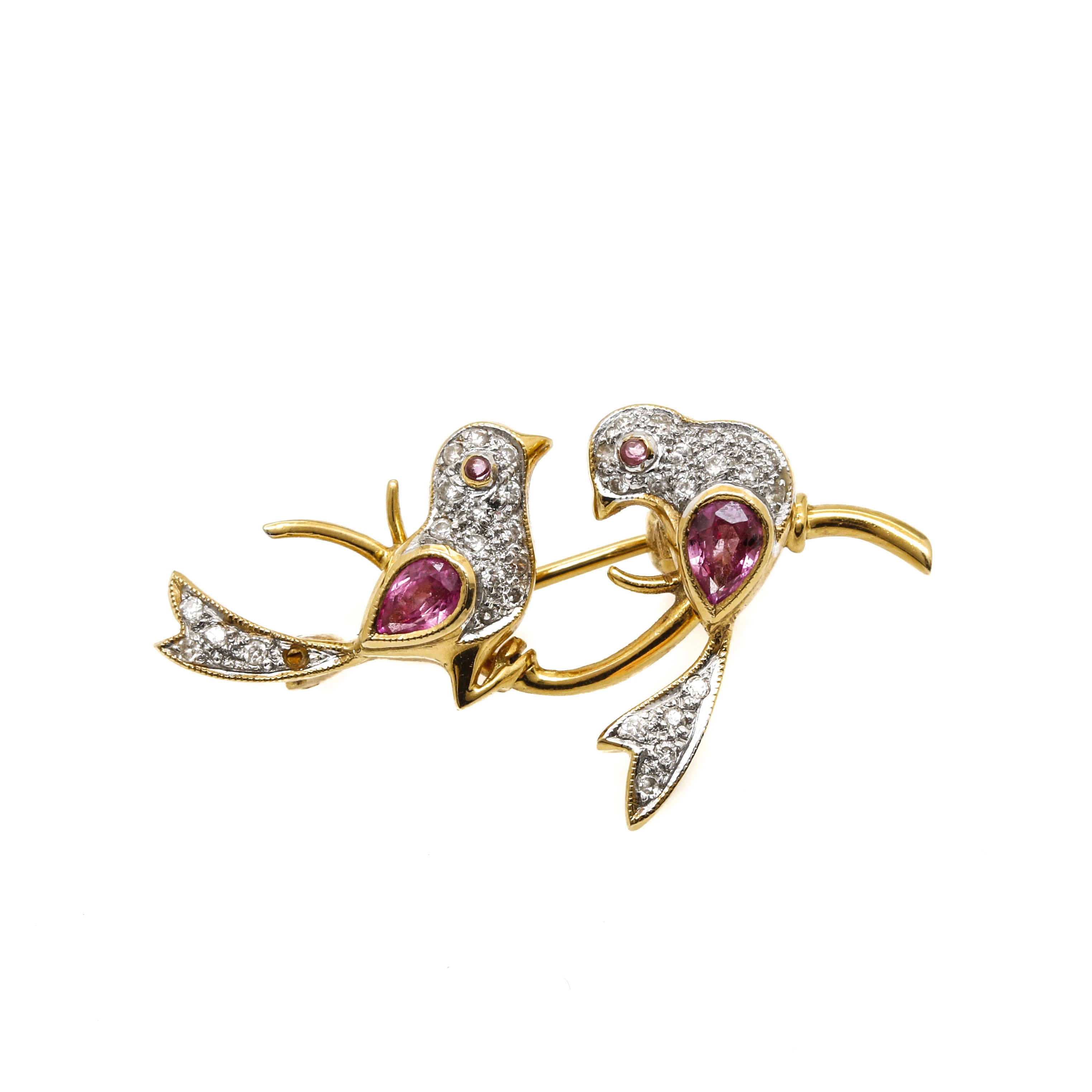 18K Yellow Gold Diamond and Pink Sapphire Birds Brooch