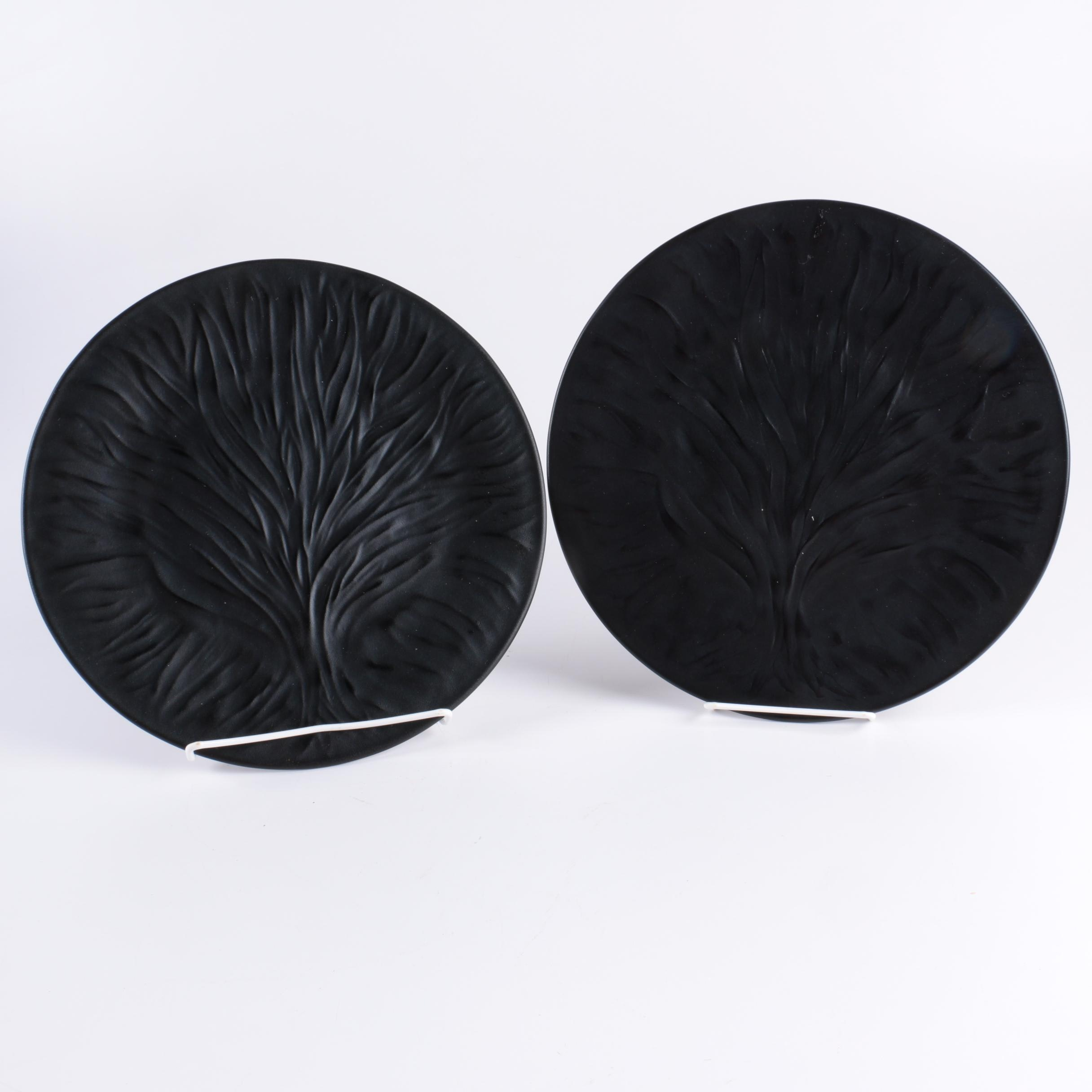 "Pair of Lalique ""Algues"" Frosted Black Crystal Dinner Plates"