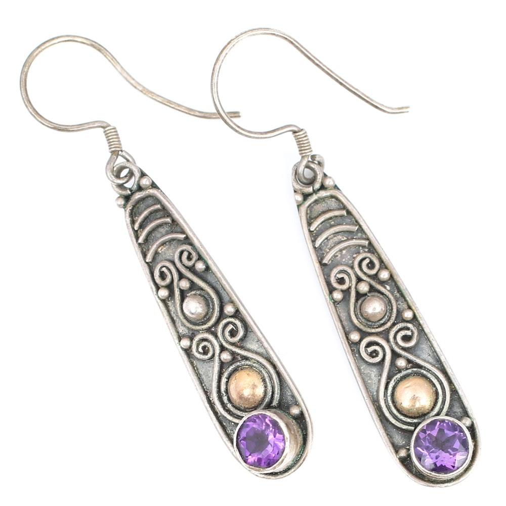 Sterling Silver 1.00 CTW Amethyst Dangle Earrings