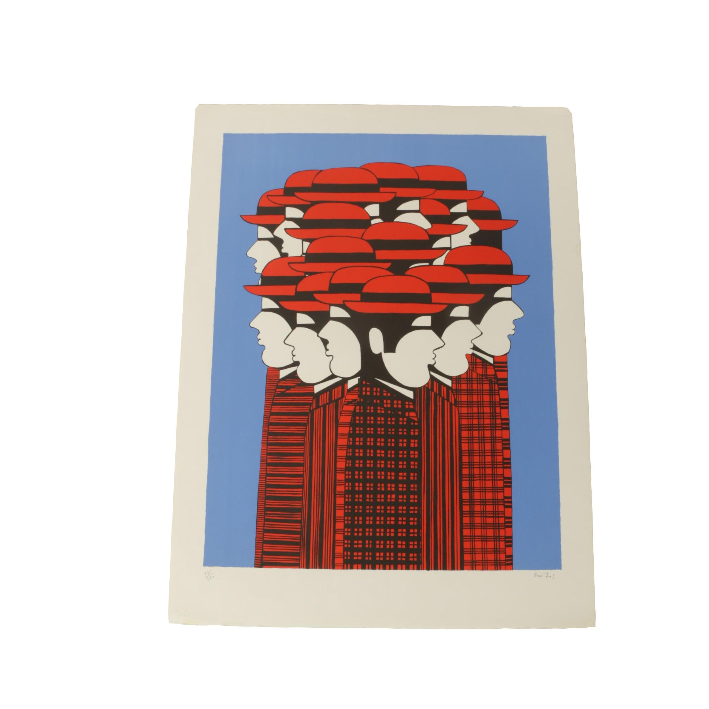 """Yannis Gaïtis Limited Edition Lithograph on Paper """"Red Bowlers"""""""