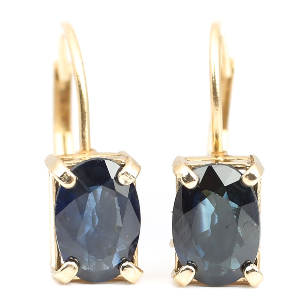 14K Yellow Gold 1.70 CTW Sapphire Earrings