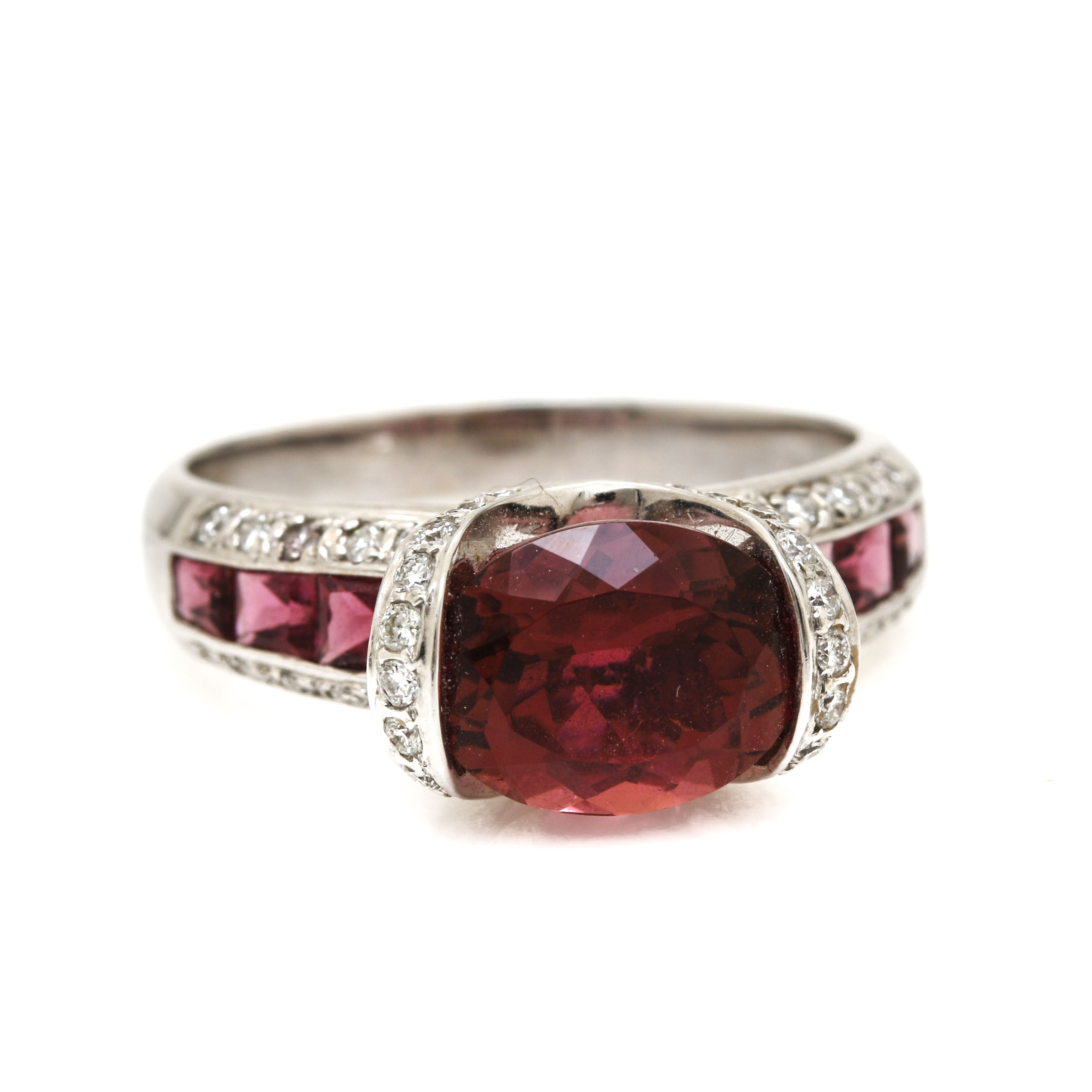 18K White Gold 3.02 CT Pink Tourmaline and Diamond Ring