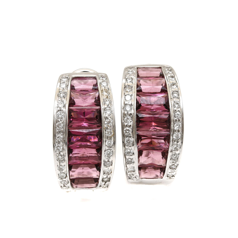 18K White Gold Pink Tourmaline and Diamond Half Hoop Earrings