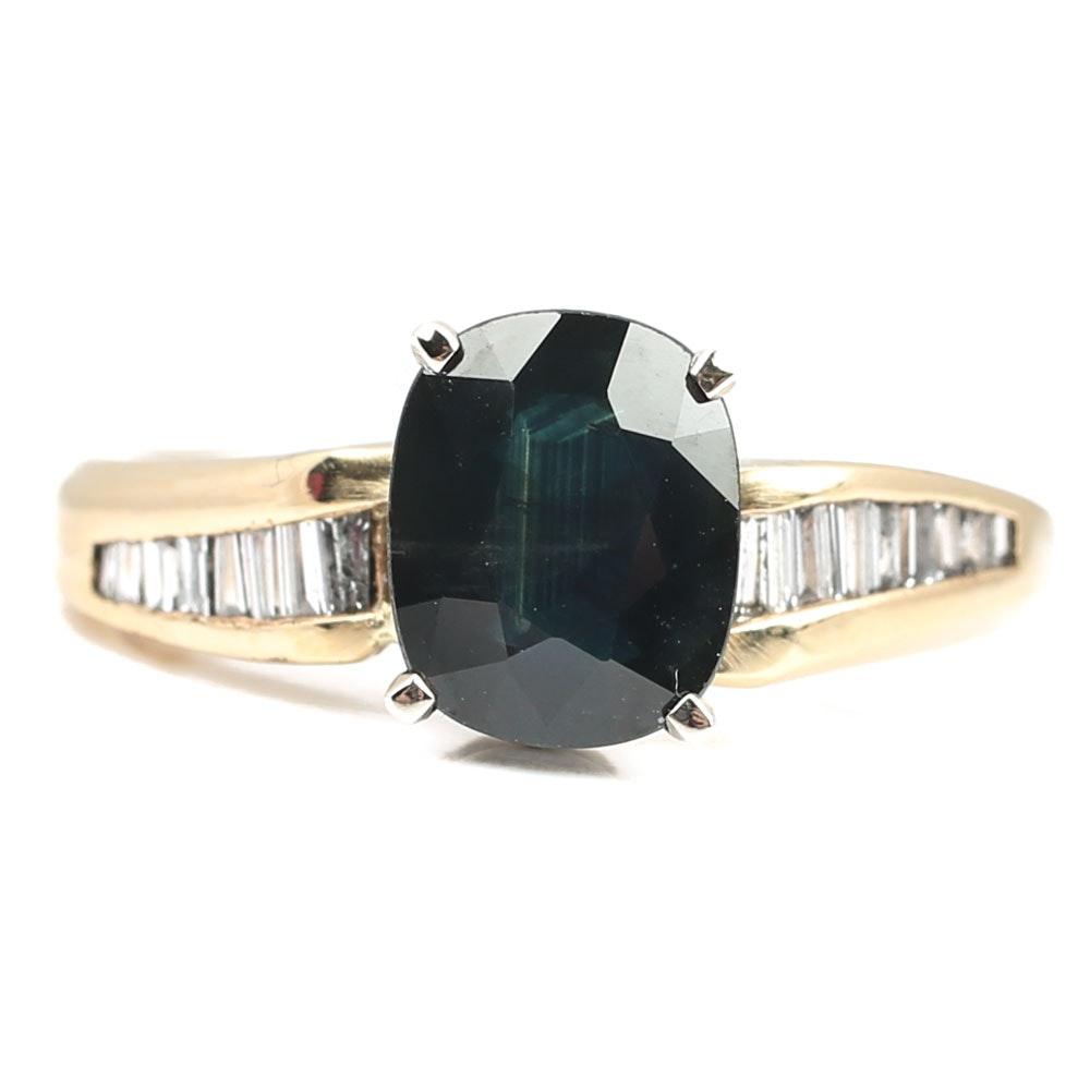 14K Yellow Gold 2.56 CT Sapphire and Diamond Ring