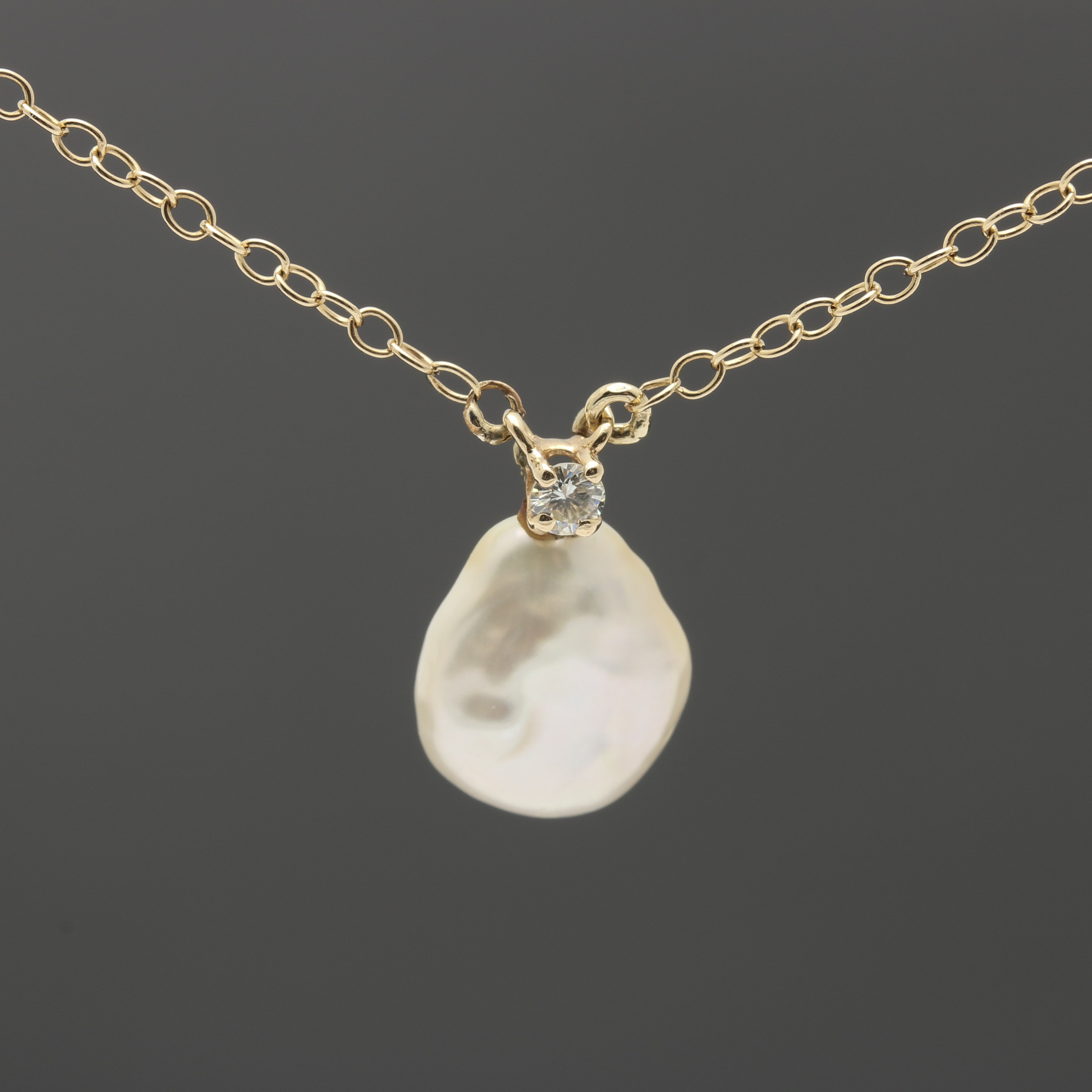 14K Yellow Gold Diamond and Cultured Pearl Necklace