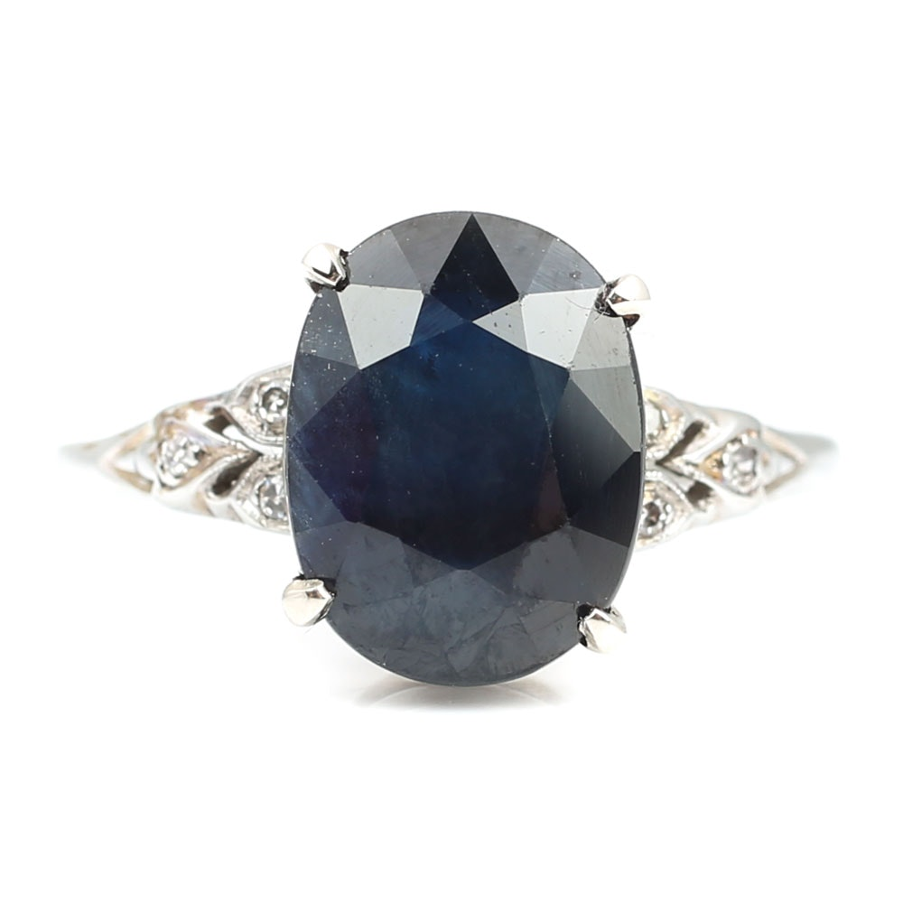 18K White Gold 4.85 CT Sapphire and Diamond Ring
