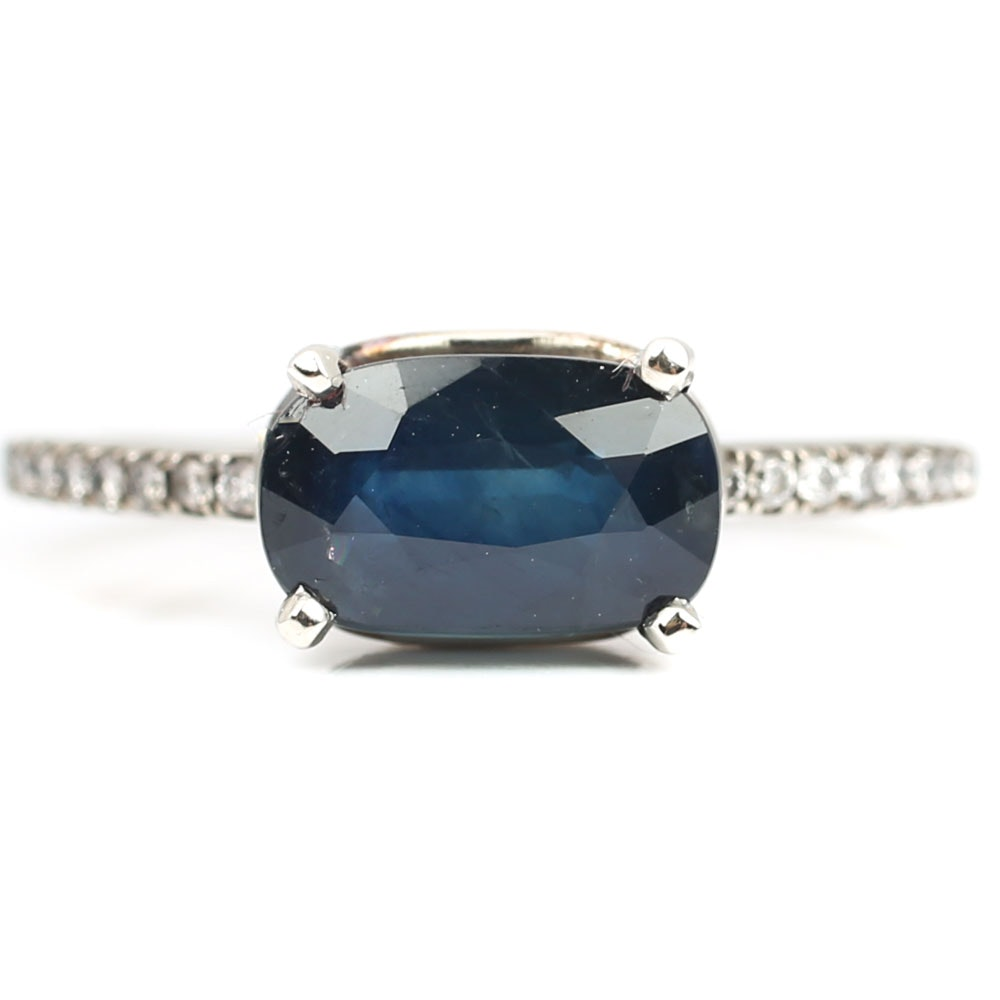14K White Gold 2.12 CT Sapphire and Diamond Ring