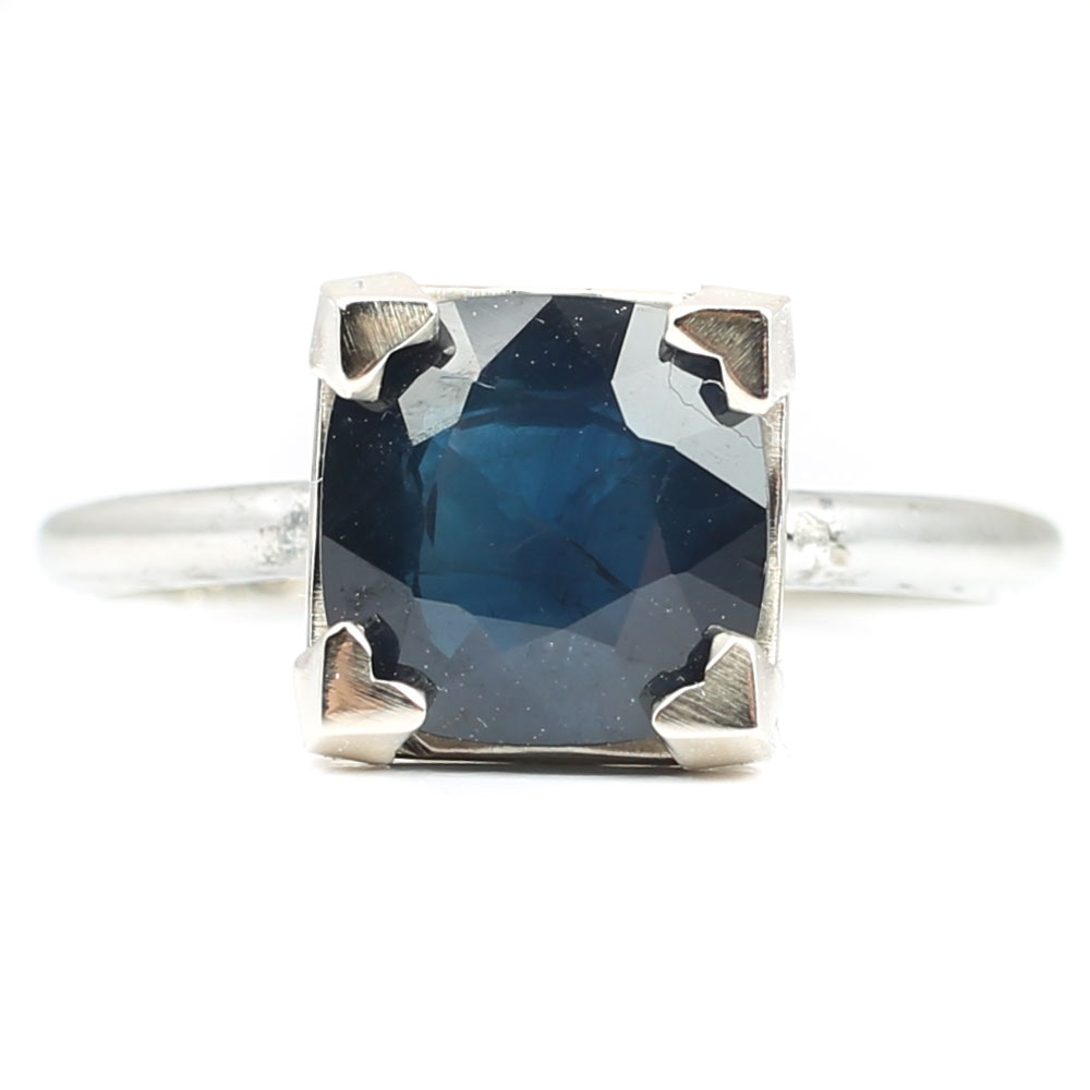 18K White Gold 3.42 CT Sapphire Ring