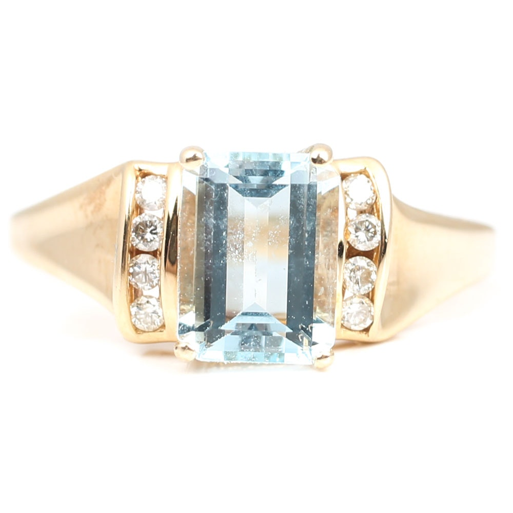 14K Yellow Gold 1.30 CT Aquamarine and Diamond Ring