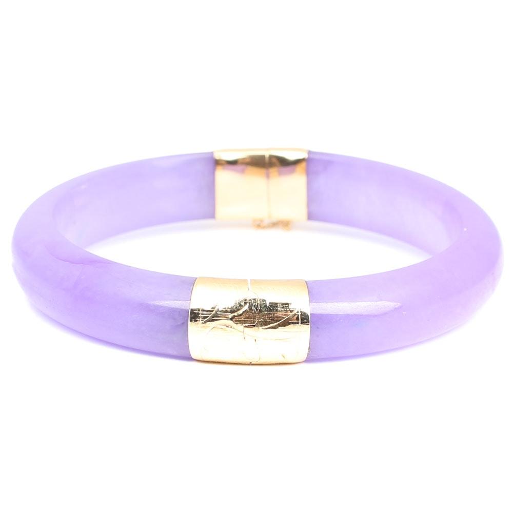 14K Yellow Gold Lavender Jadeite Bangle Bracelet