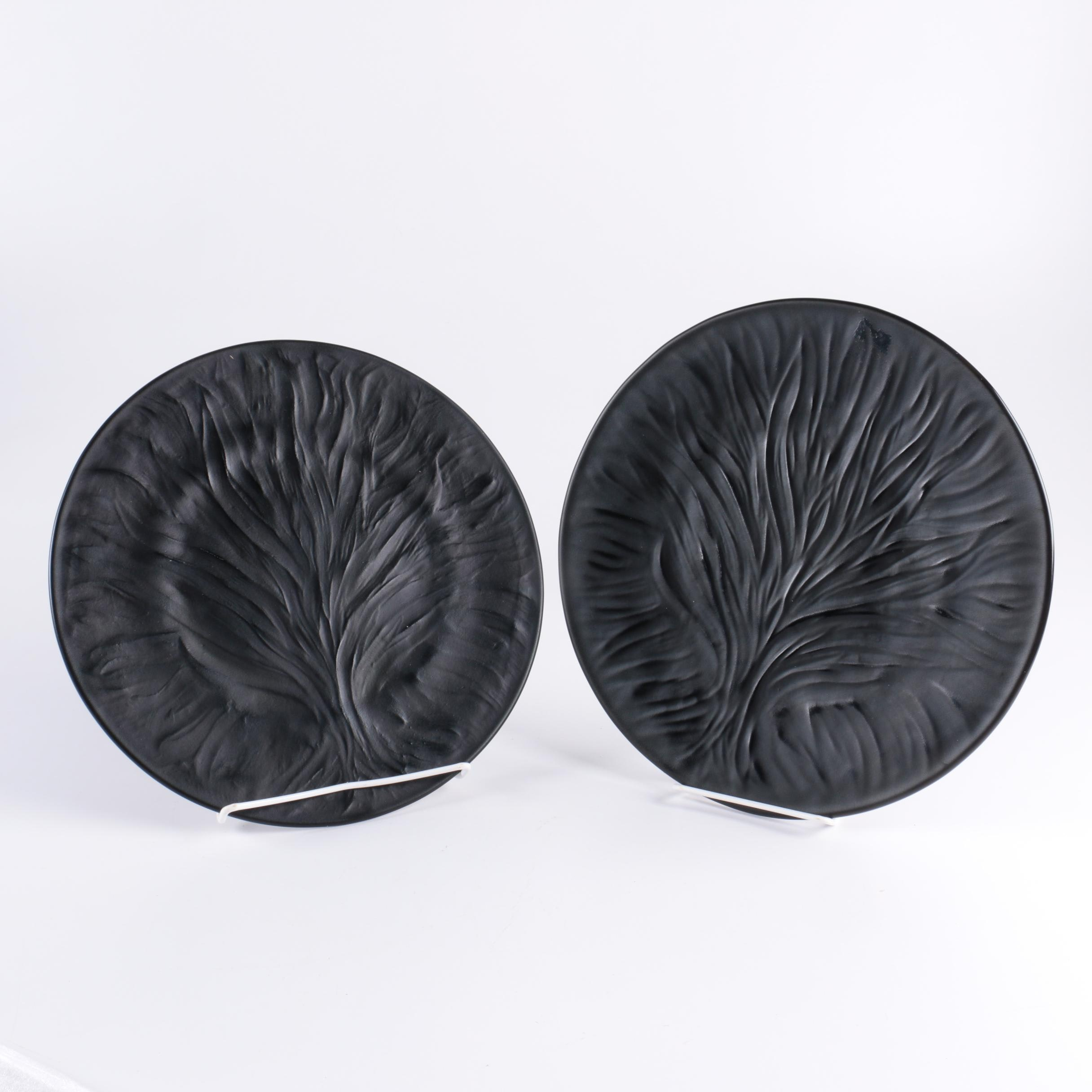 Pair of Lalique  Algues  Frosted Black Crystal Dinner Plates ... & Pair of Lalique
