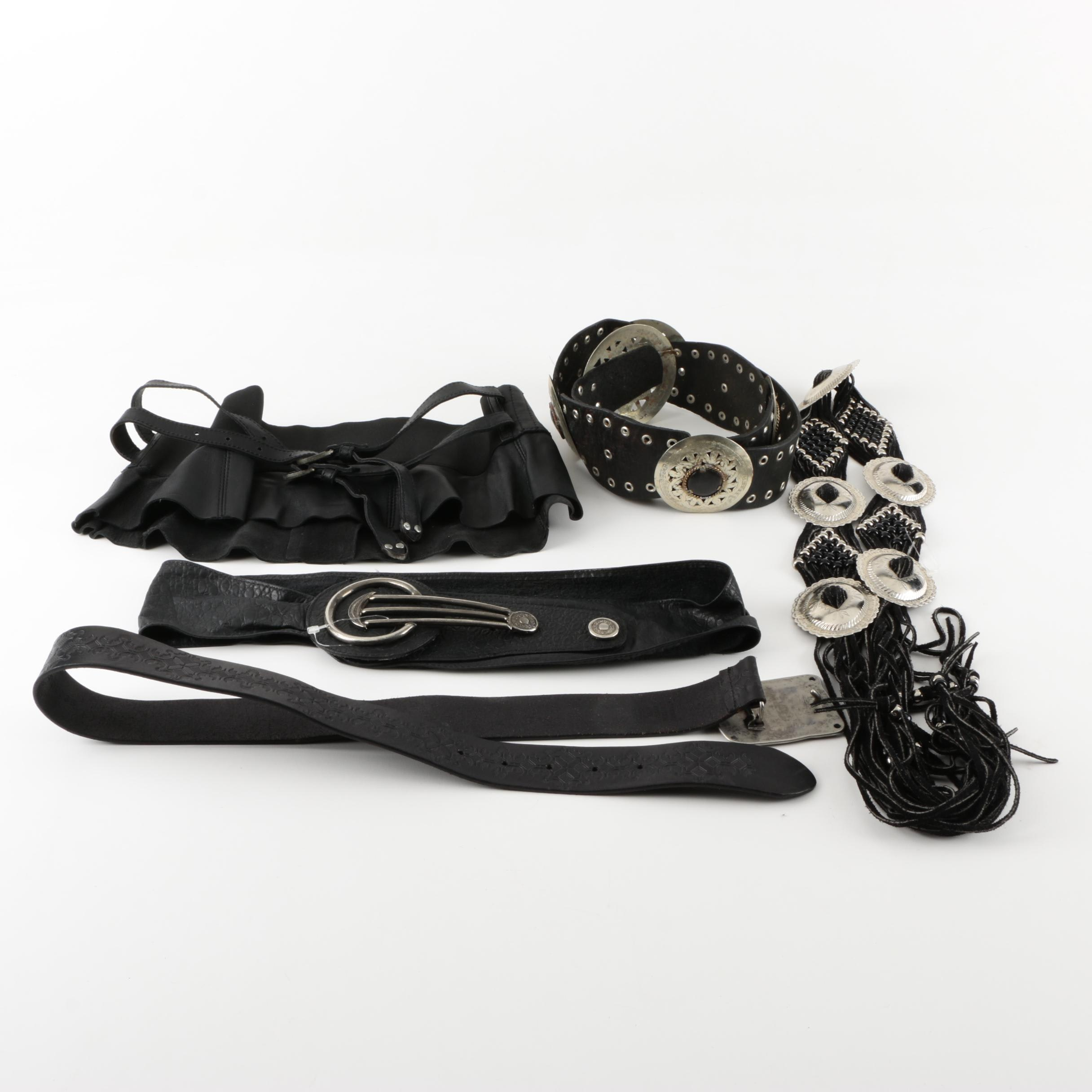 Assortment of Black Leather and Faux Leather Statement Belts