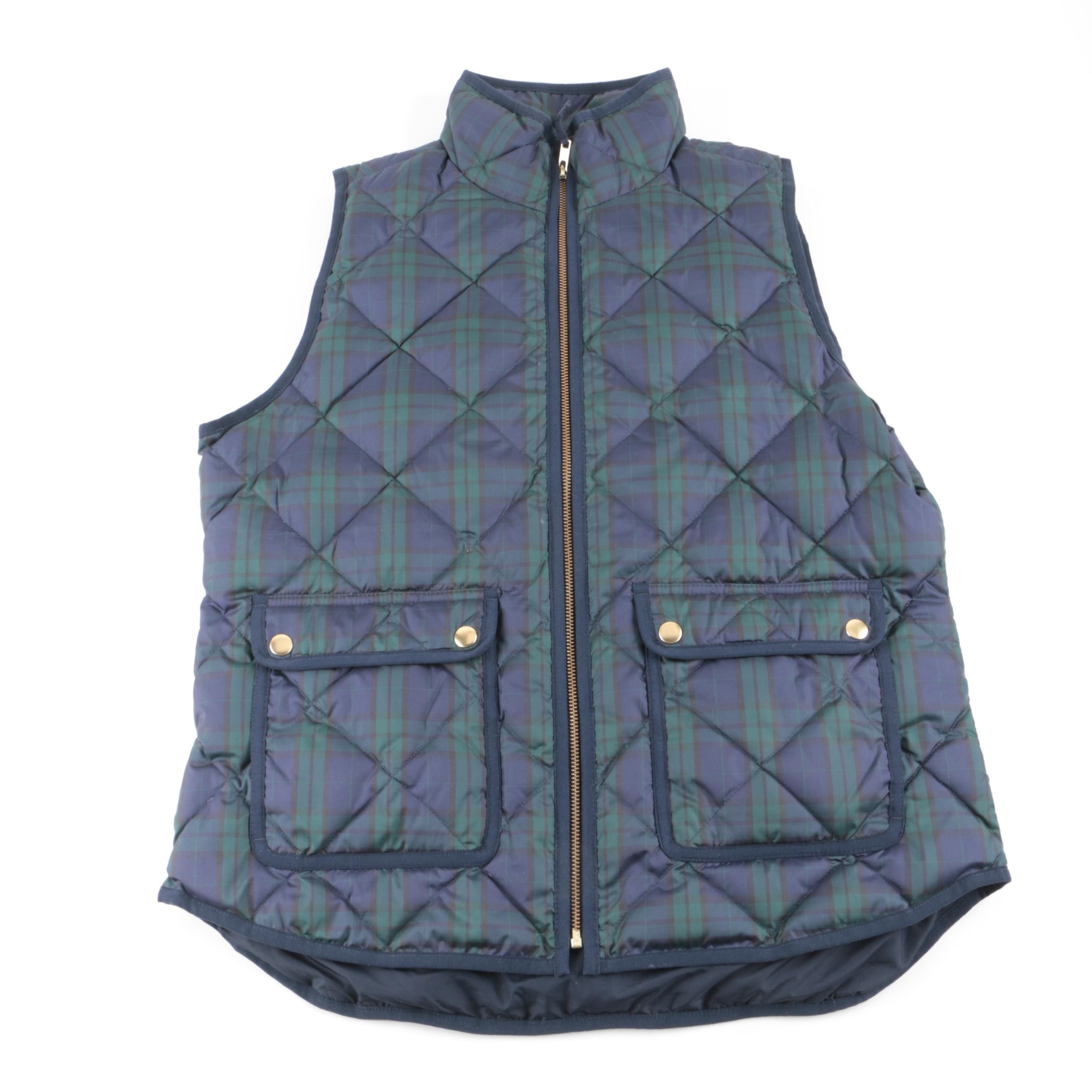 Women's J. Crew Plaid Quilted Puffer Vest