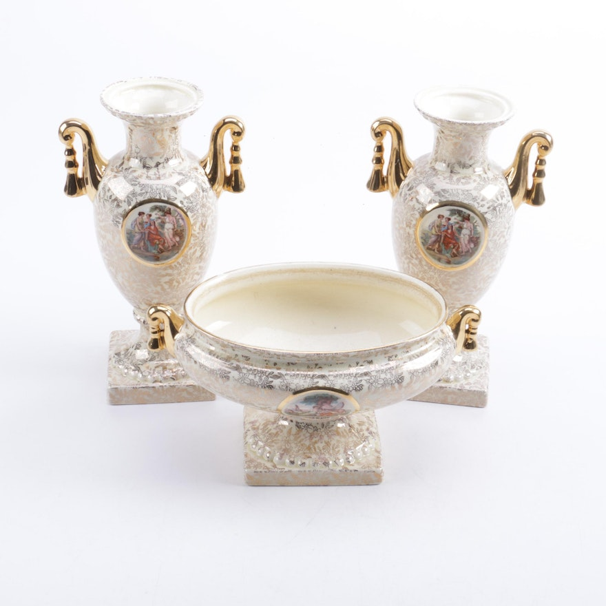 Empire Ware Console Bowl With Matching Urns Ebth