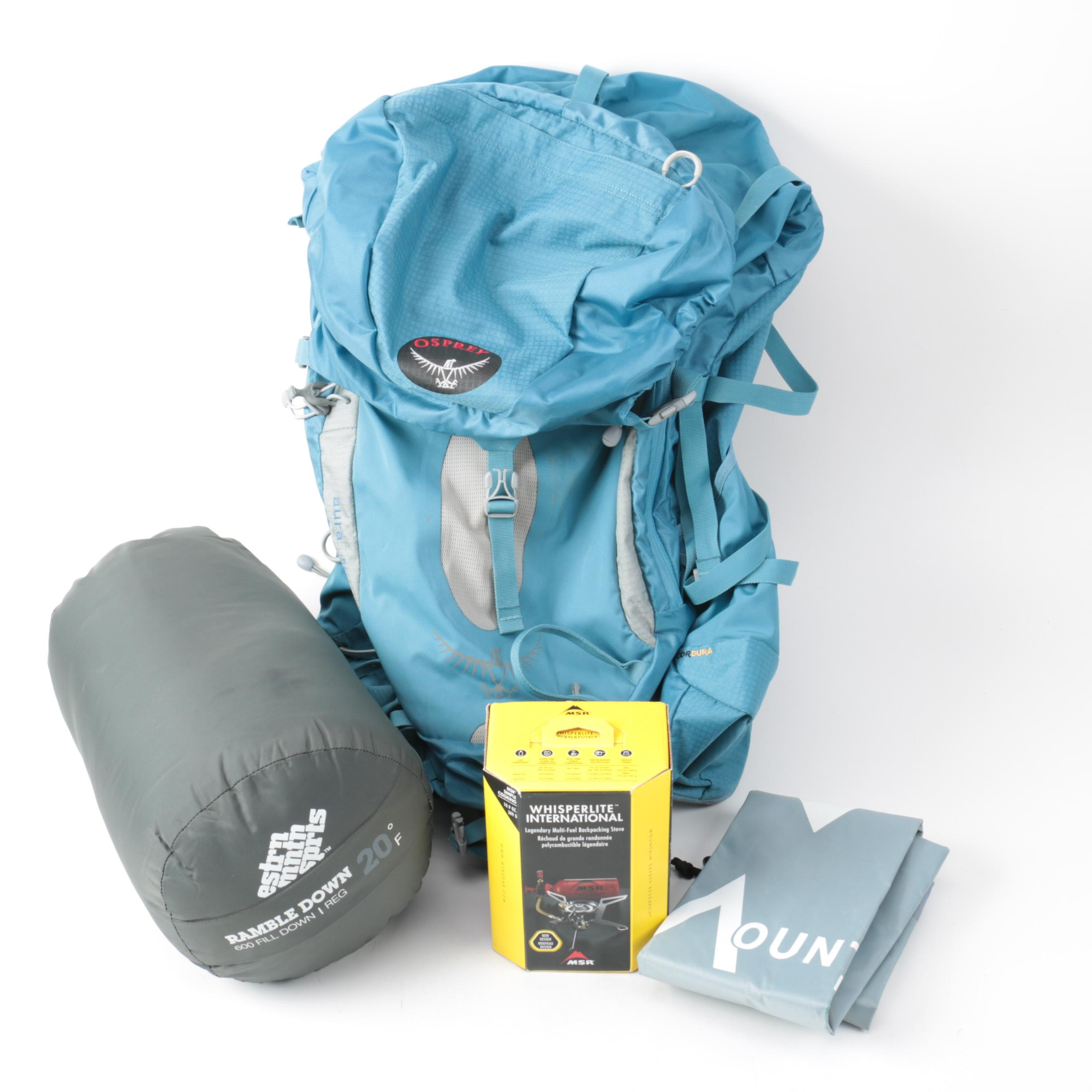 Camping Equipment Including Osprey Backpack