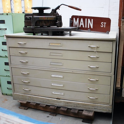 Office equipment auction used office equipment for sale in vintage industrial metal blueprint flat file cabinet malvernweather Images