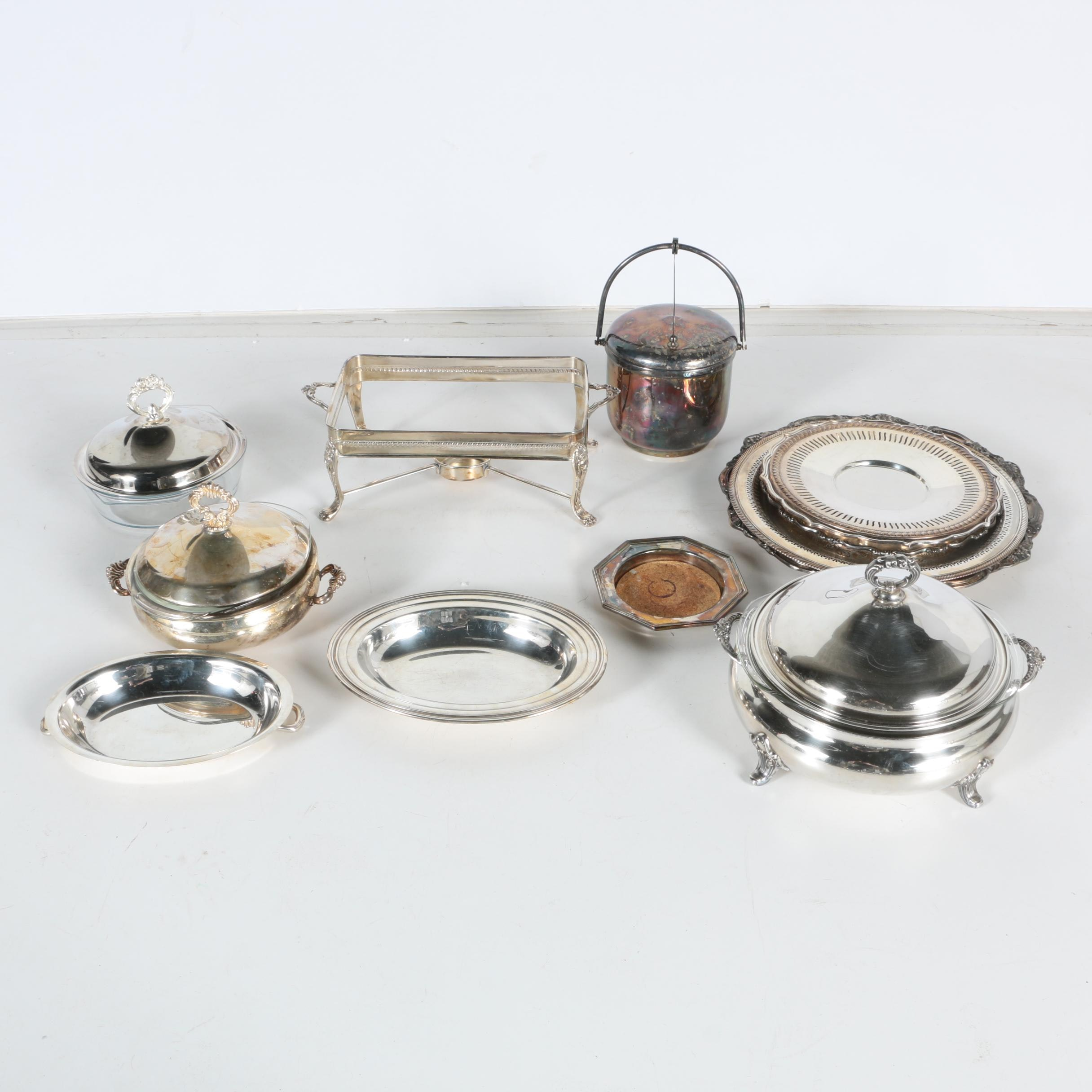 "International Silver Co. ""Concord"" Double Vegetable with Silver Plate Serveware"