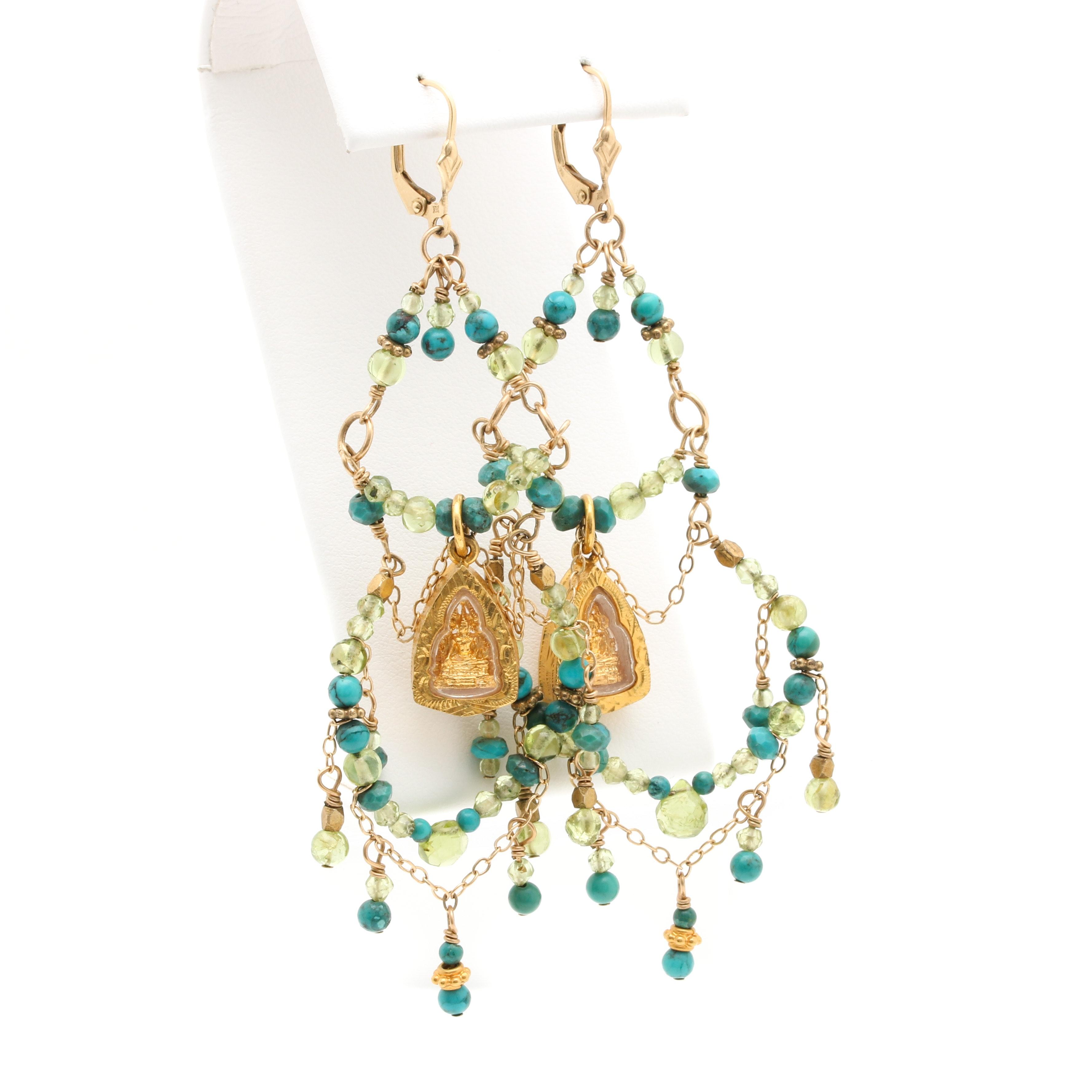 14K Yellow Gold Turquoise and Peridot Beaded Earrings