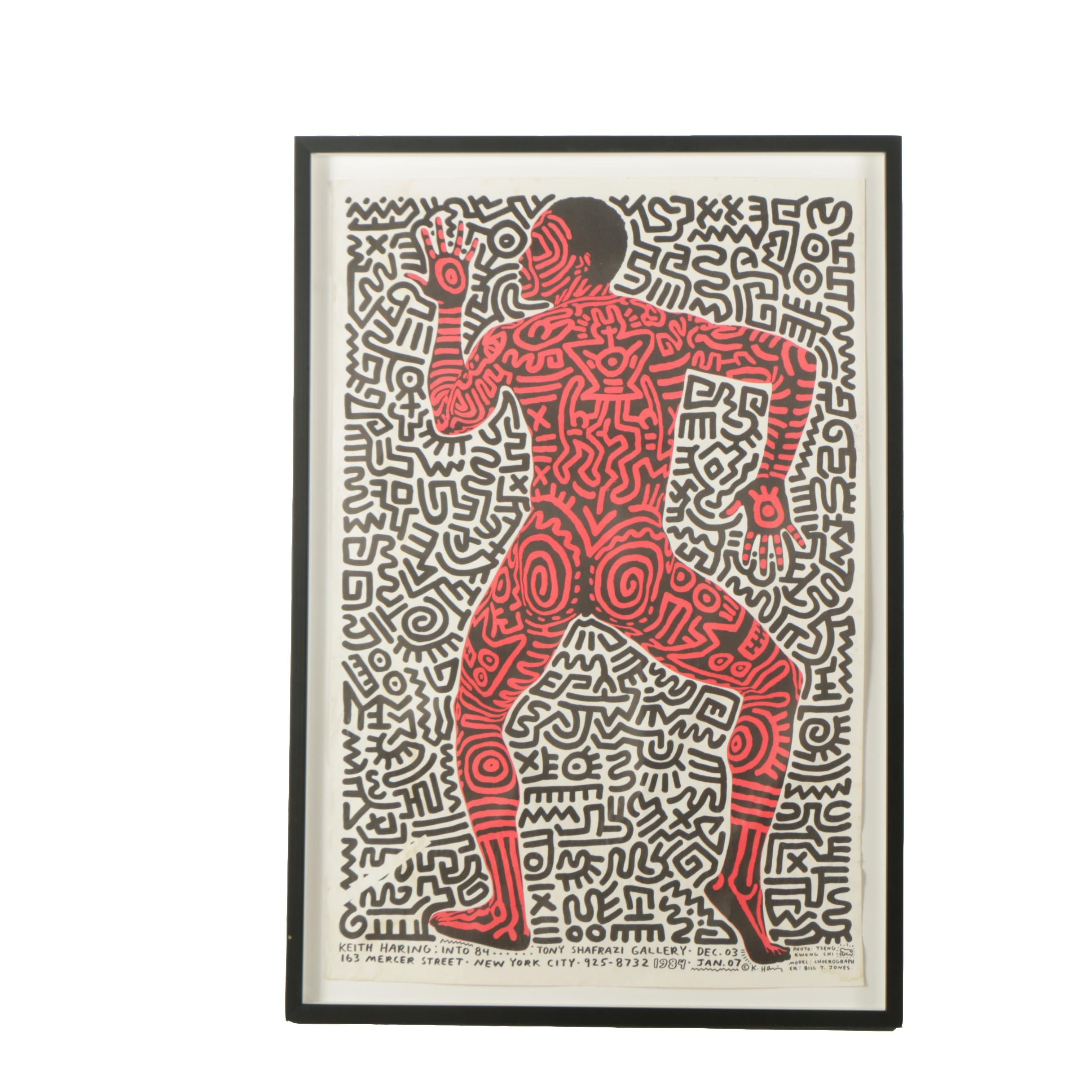 "Exhibition Lithograph Poster Designed by Keith Haring ""Keith Haring: Into 1984"""