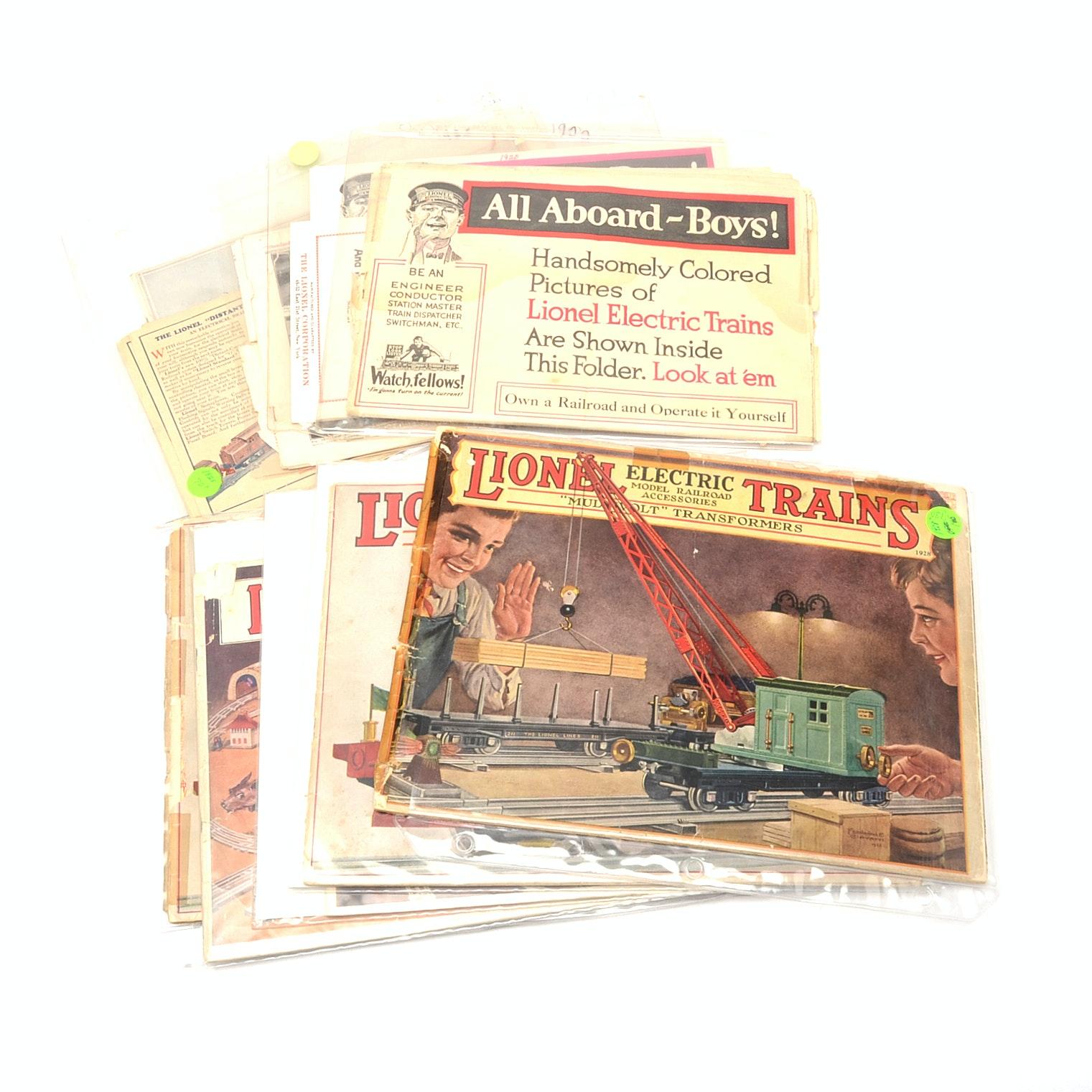 Assorted 1920s Lionel Electric Train Catalogs