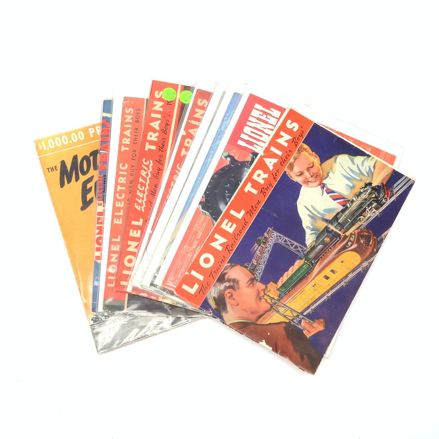 "Nine 1930s ""Lionel"" Train Catalogs"