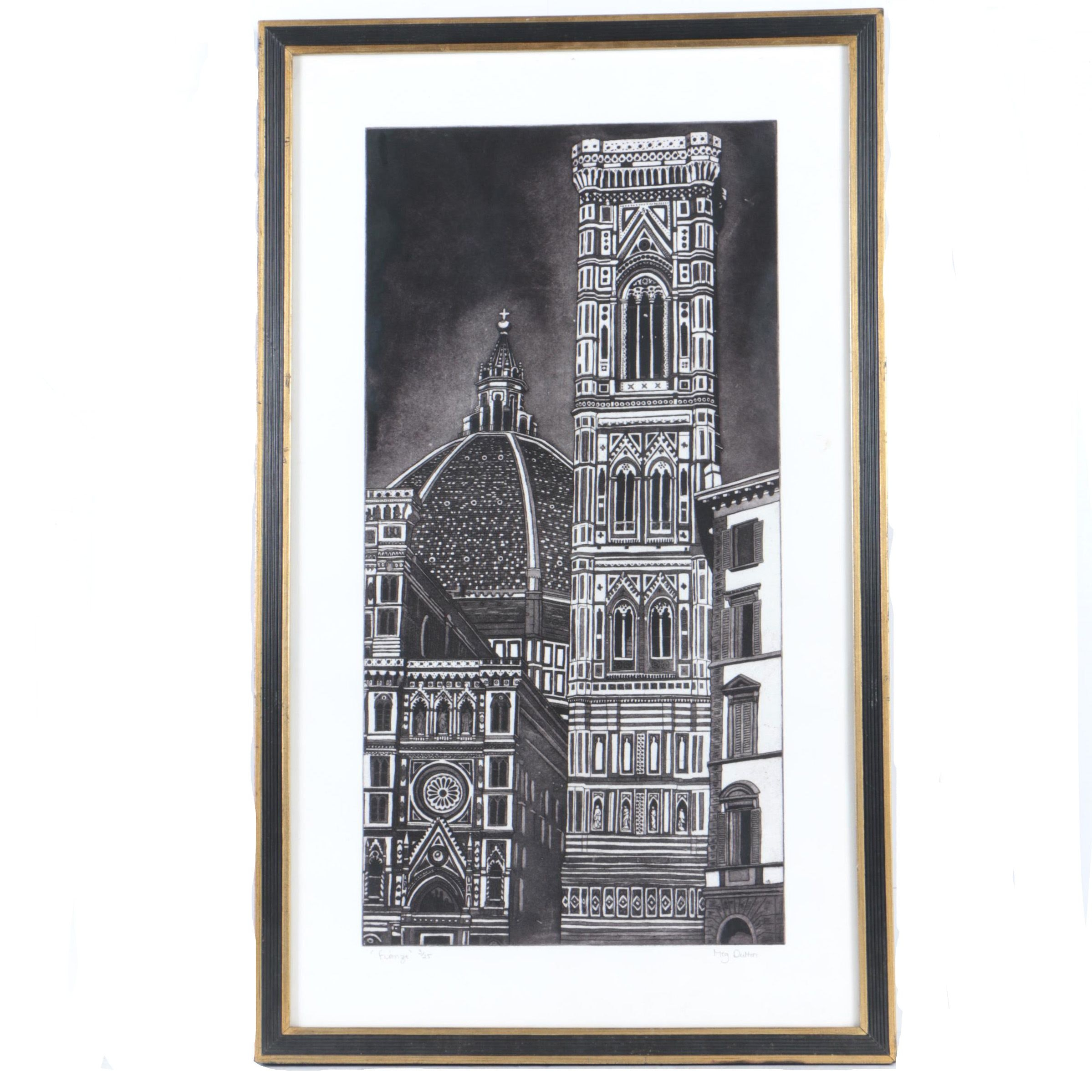"Meg Dutton Limited Edition Etching on Paper ""Firenze"""
