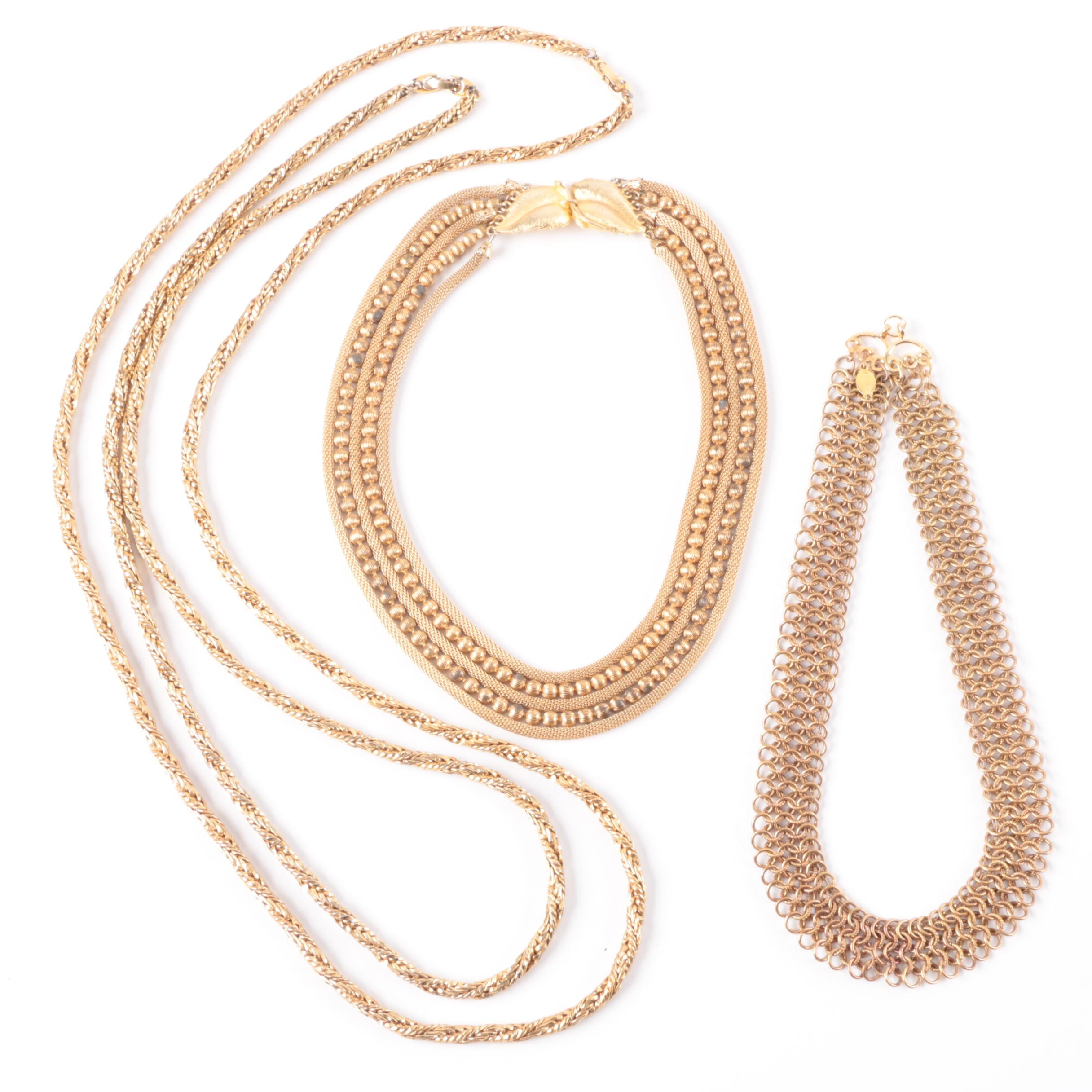 Grouping of Gold Tone Necklaces