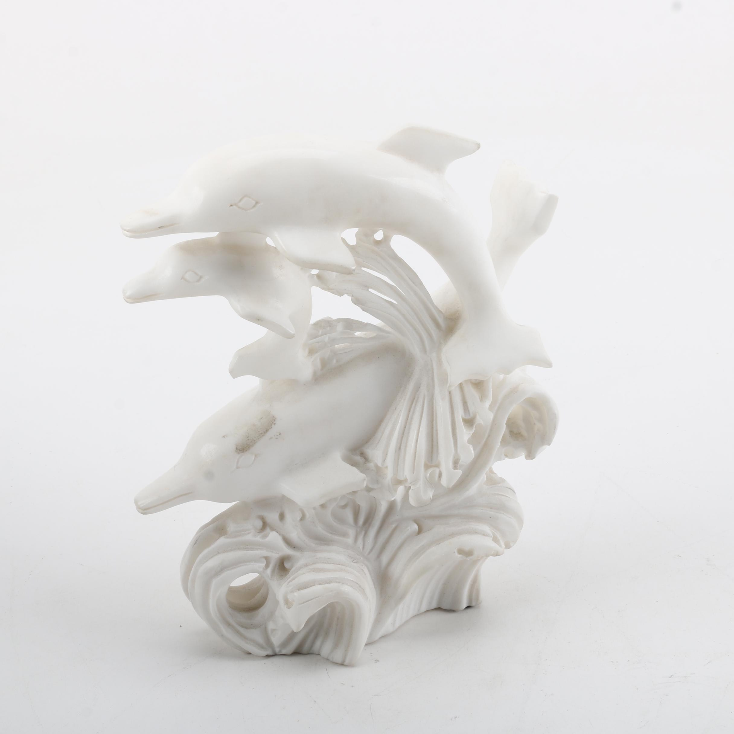 Carved Marble Dolphin Figurine