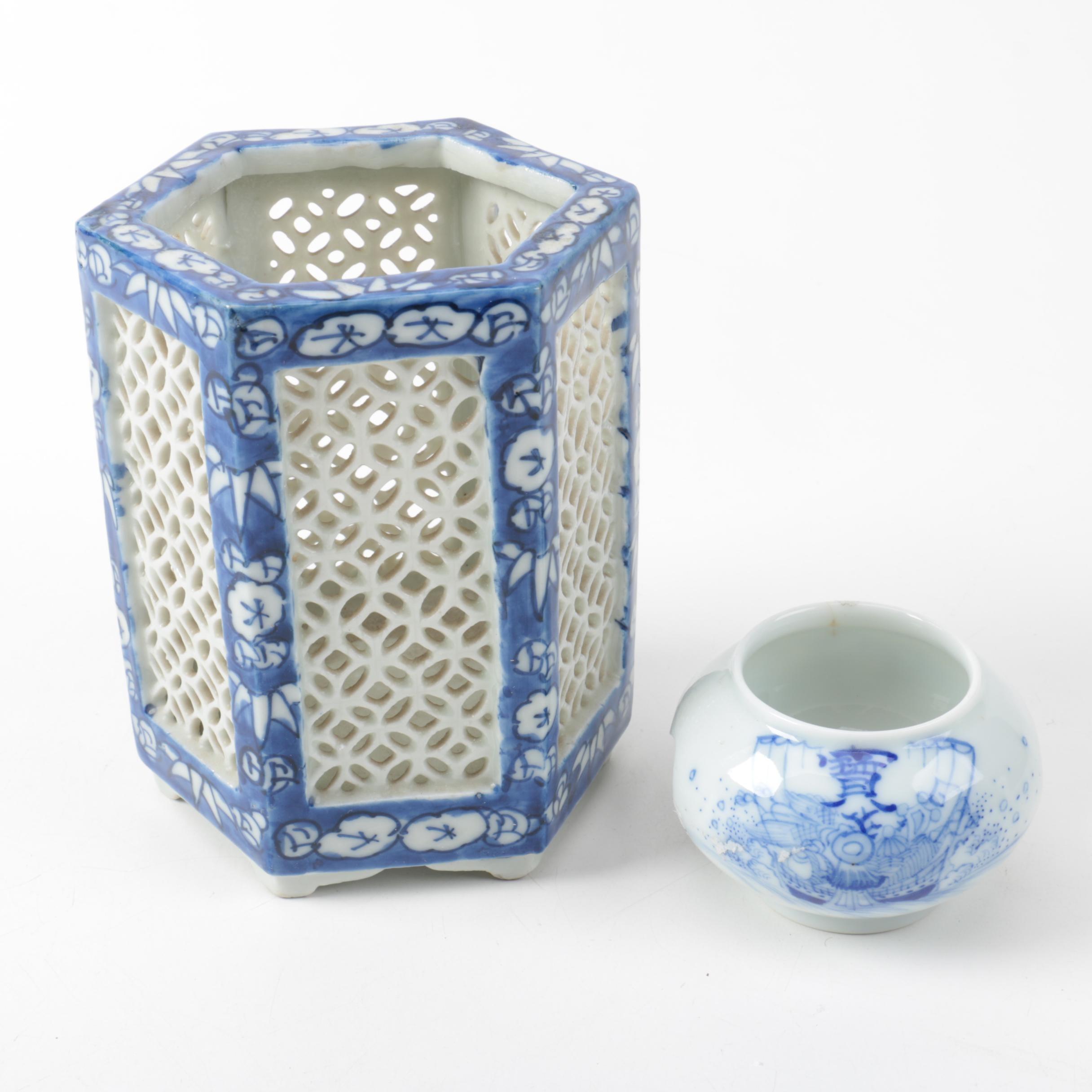Blue and White Ceramic Votive Holders
