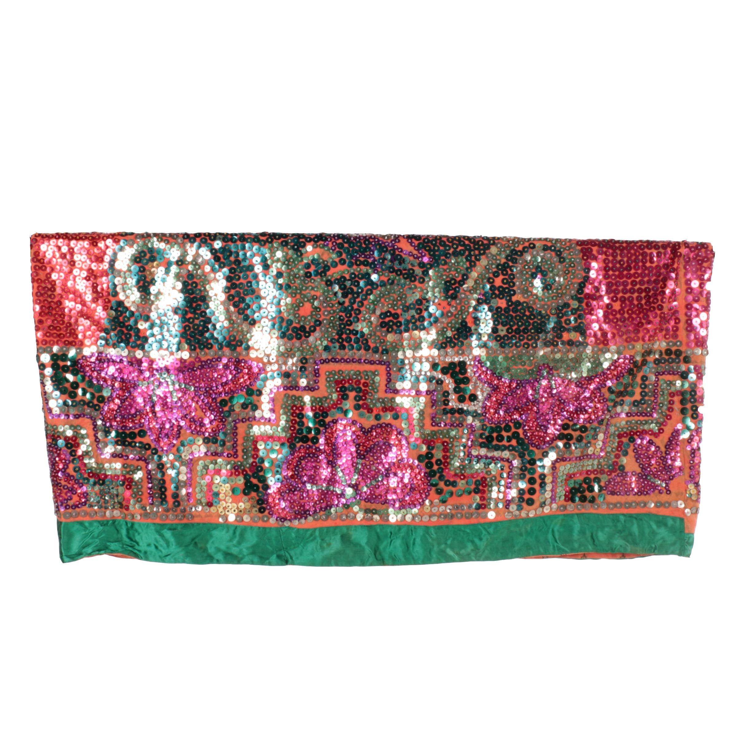 Vintage Sequined Silk Textile