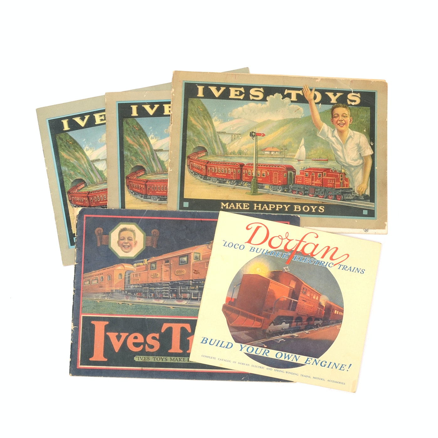 """Five Antique """"Ives Toys"""" and """"Dorfan"""" Electric Train Catalogs"""
