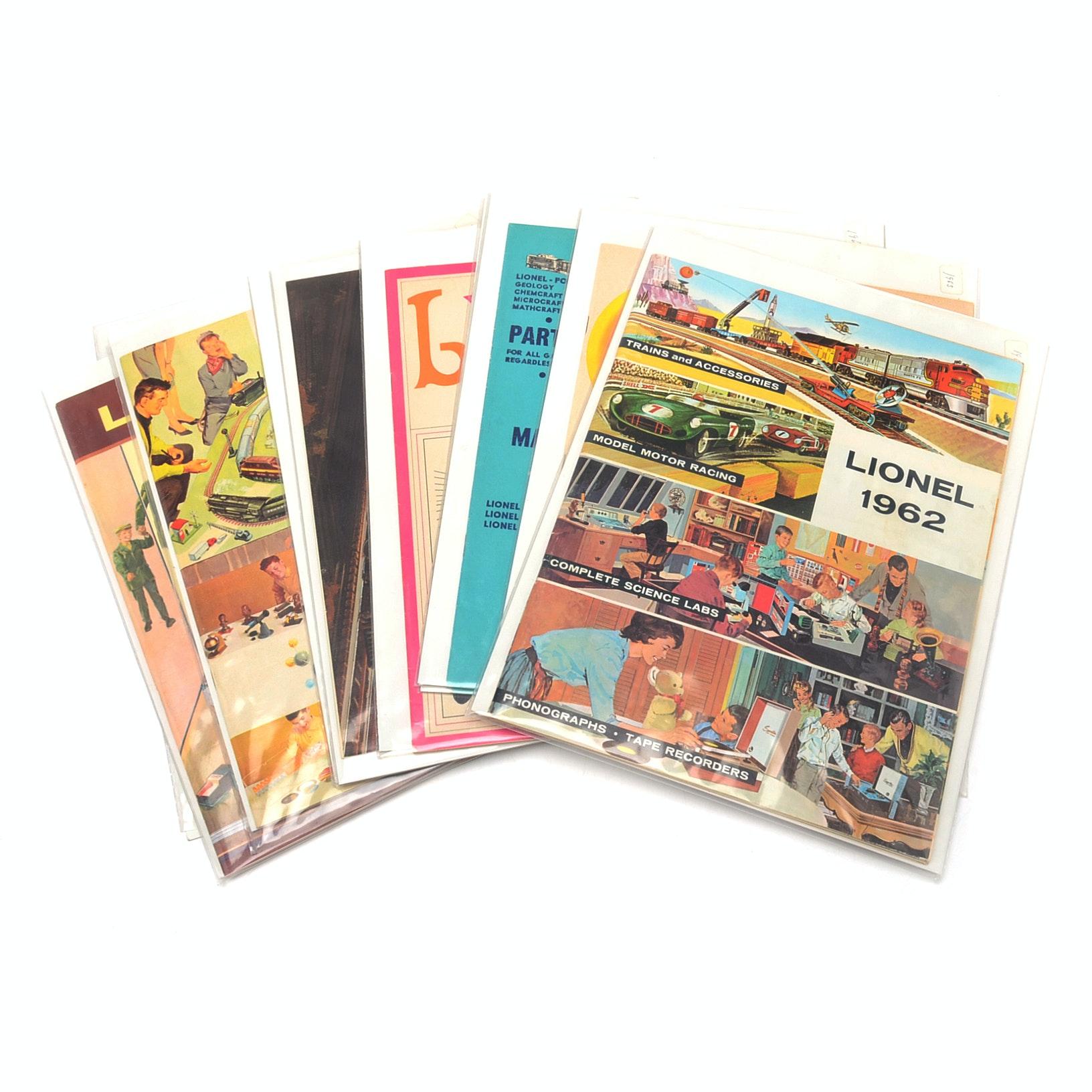 Eleven 1960s Lionel Model Electric Train Catalogs