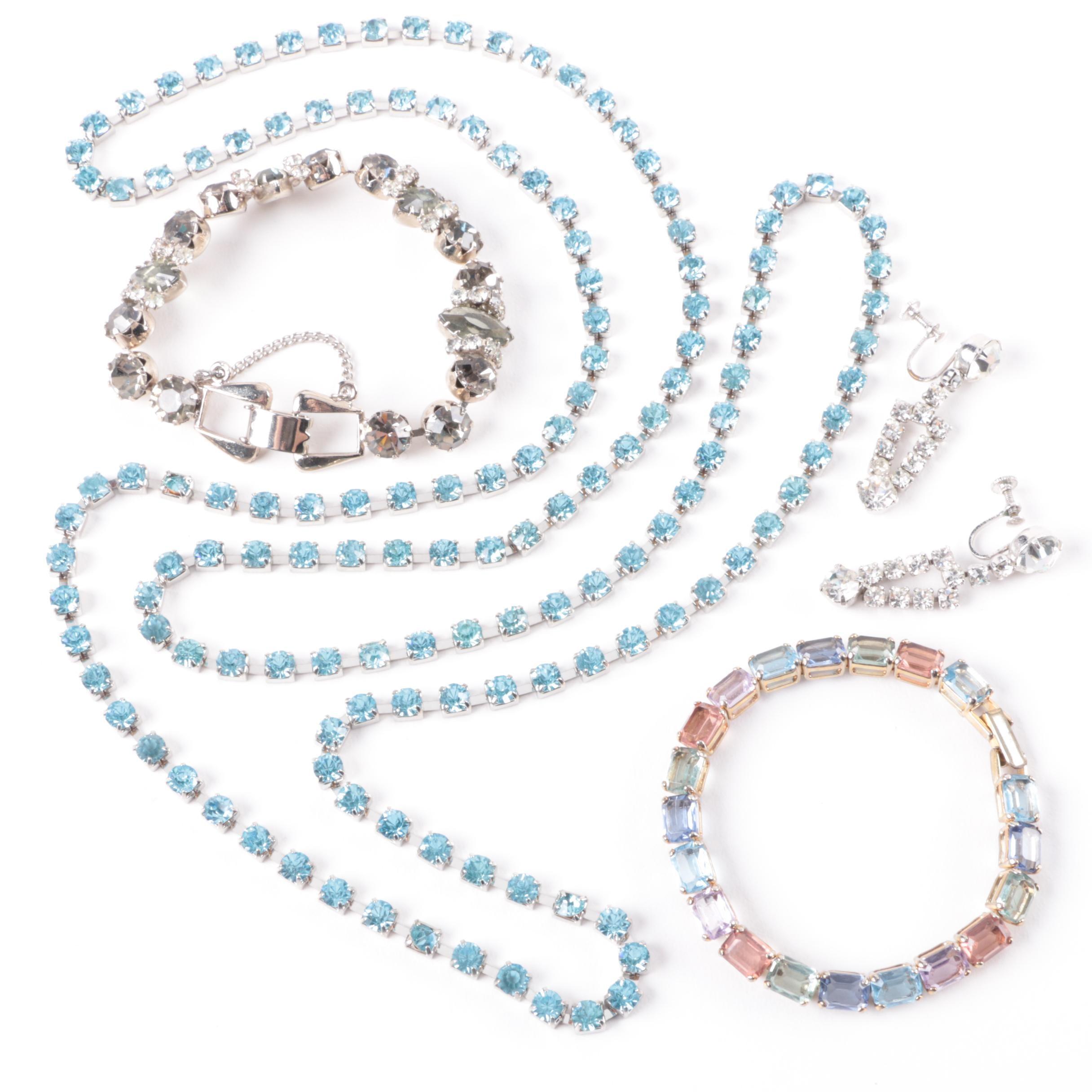 Silver Tone Jewelry Including Rhinestones