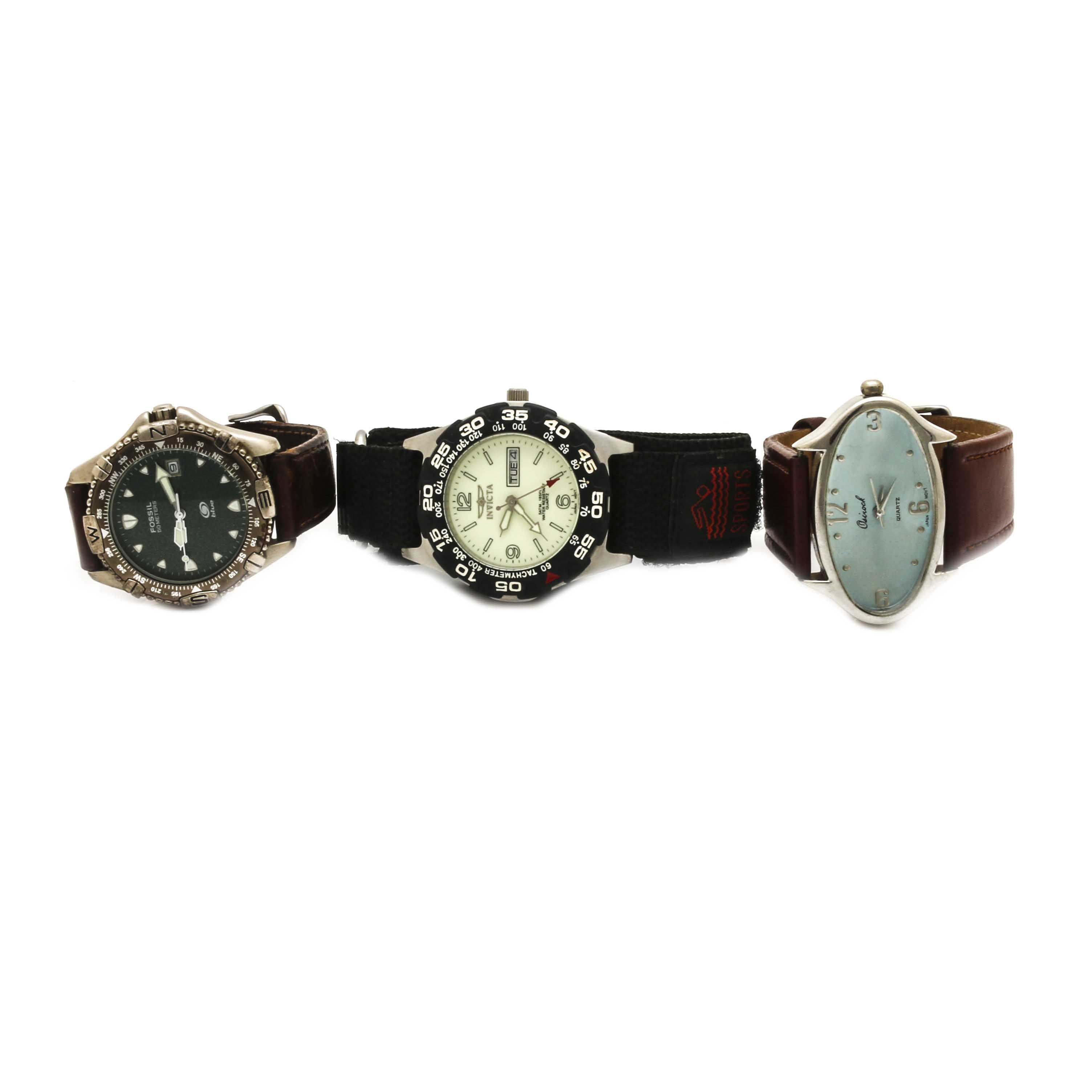 Wristwatch Selection Including Invicta, Fossil, and Osirock