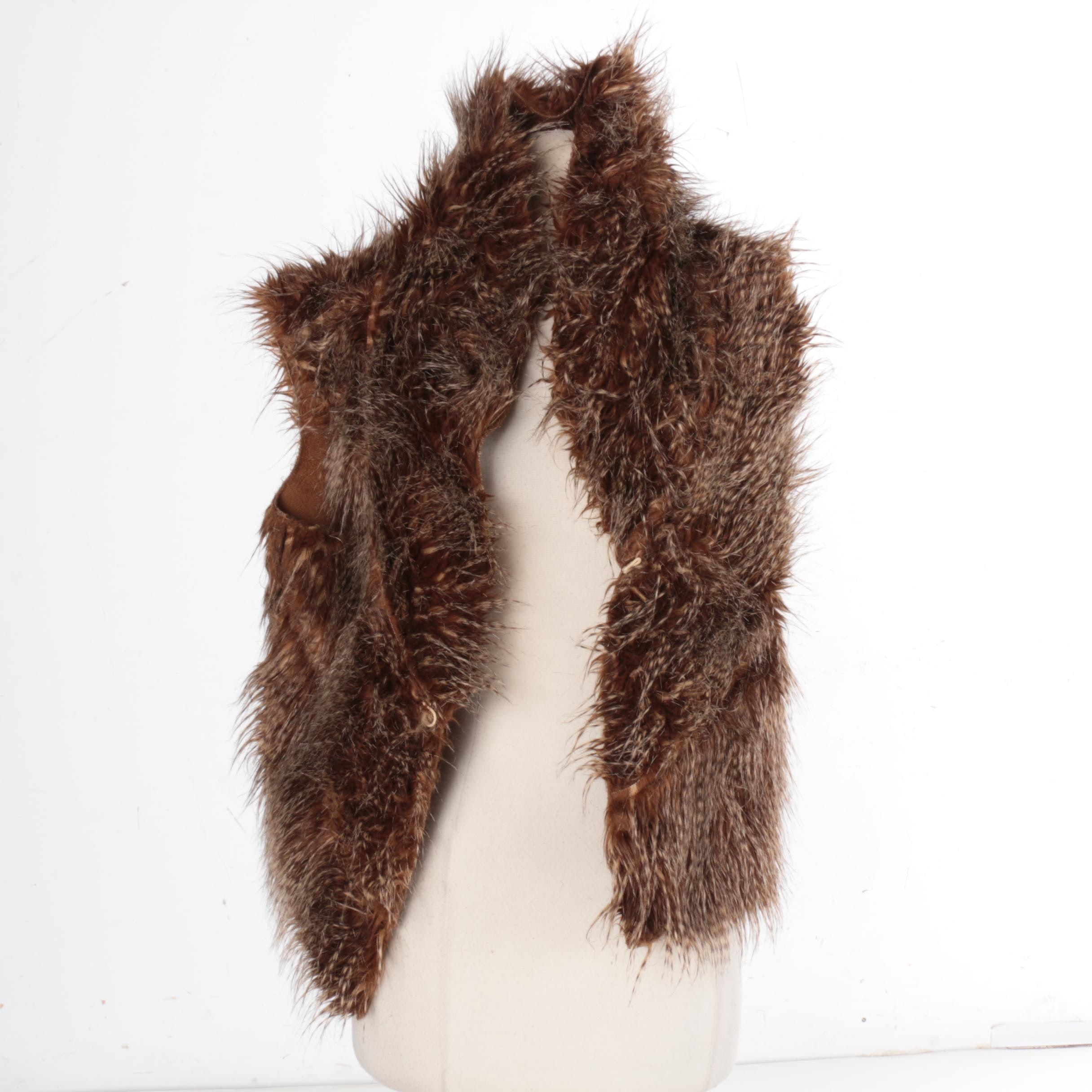 Women's Faux Fur and Faux Suede Reversible Vest