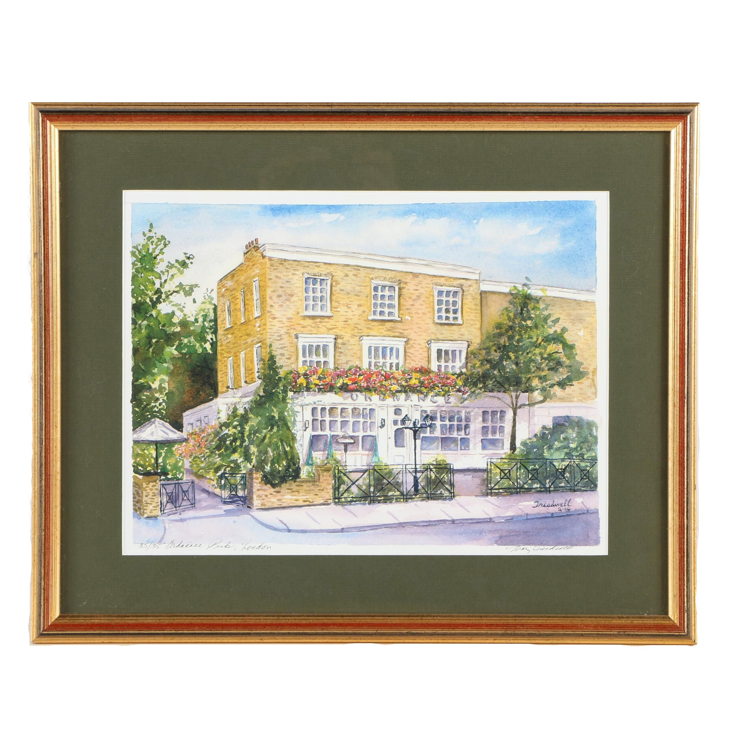 """Mary Treadwell Limited Edition Offset Lithograph on Paper """"Ordnance Pub, London"""""""