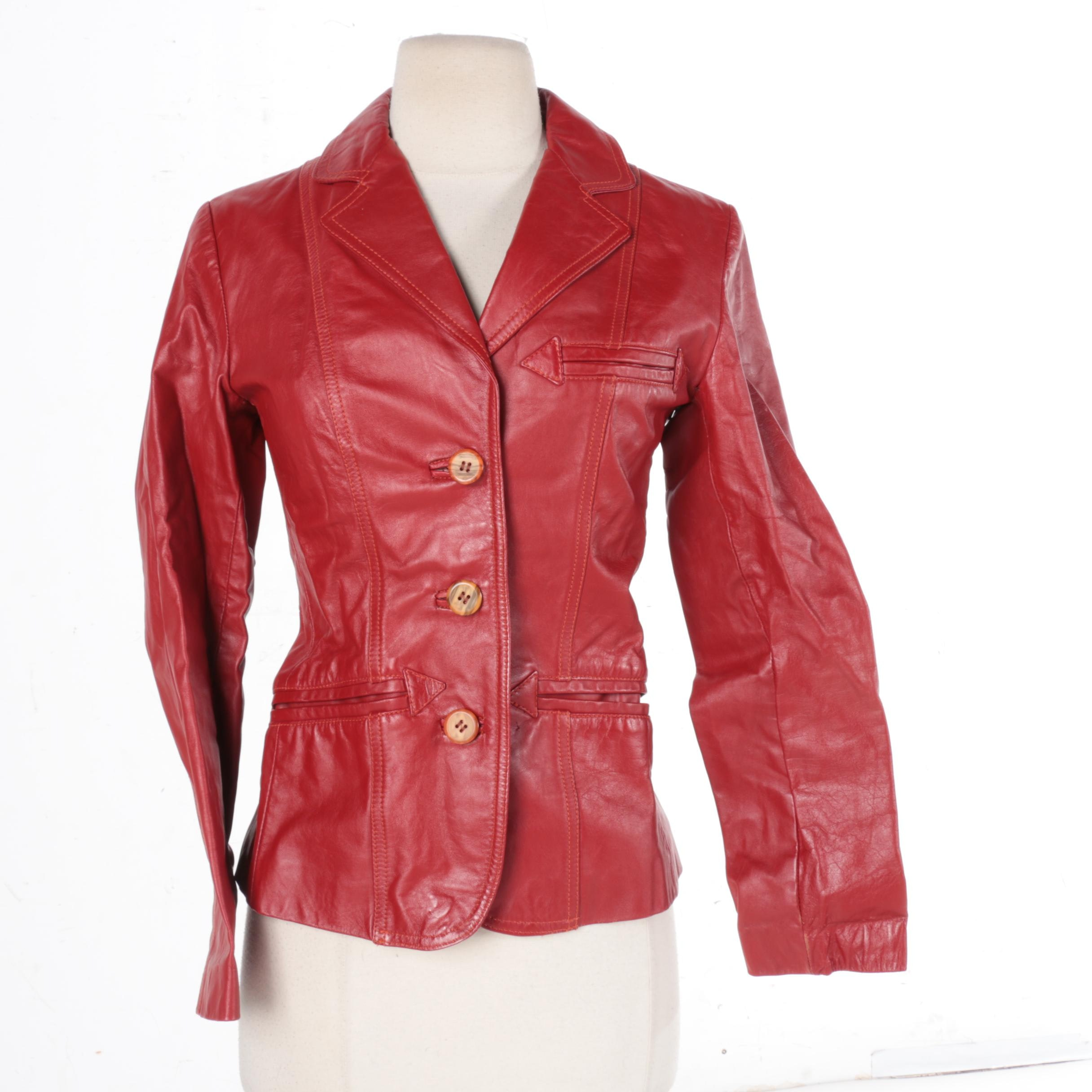 Women's Lesoleil Red Leather Jacket