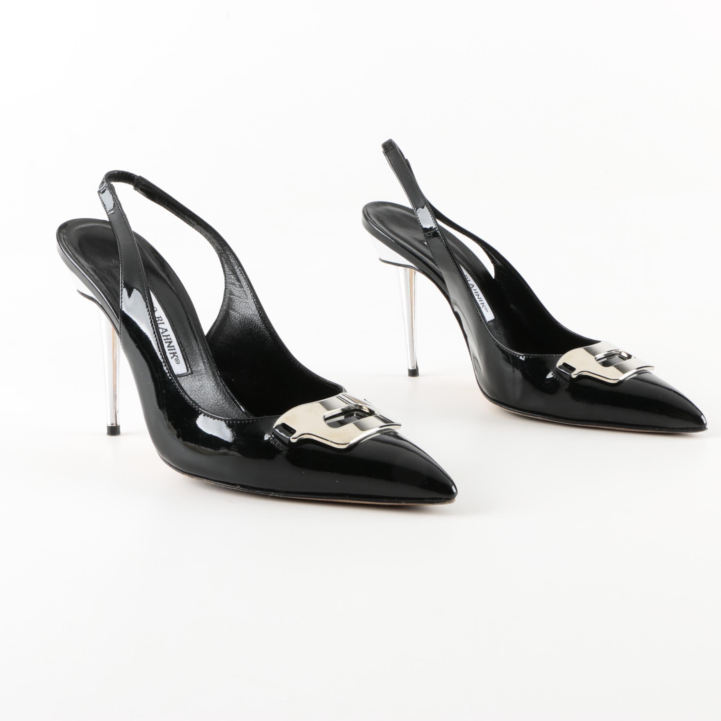 Manolo Blahnik Black Patent Leather Buckle Slingback Heels