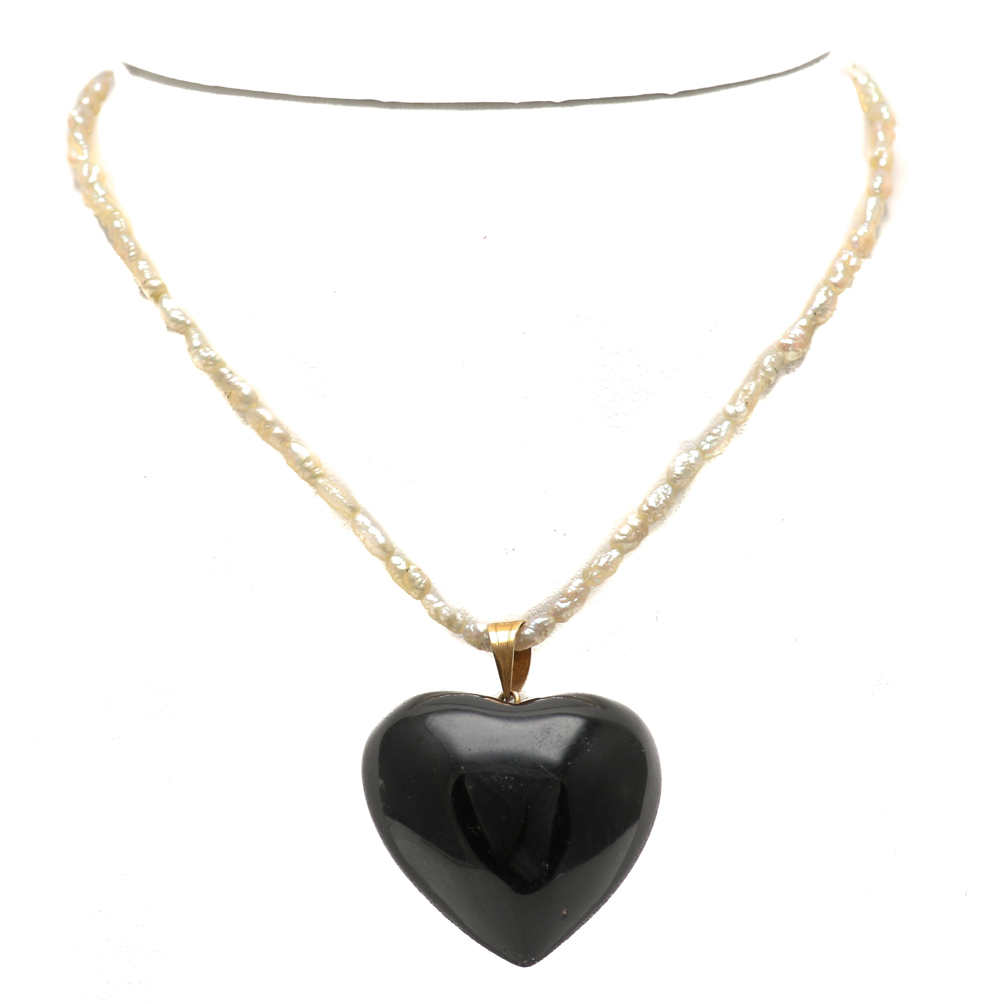 14K Yellow Gold Black Glass Heart Pendant on a Cultured Pearl Necklace